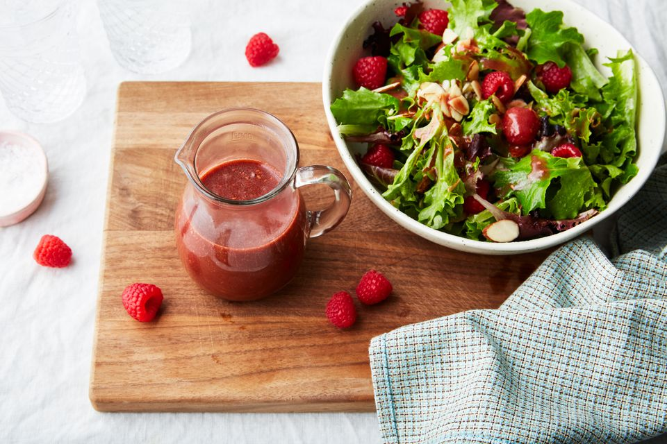 Raspberry vinaigrette salad dressing and salad