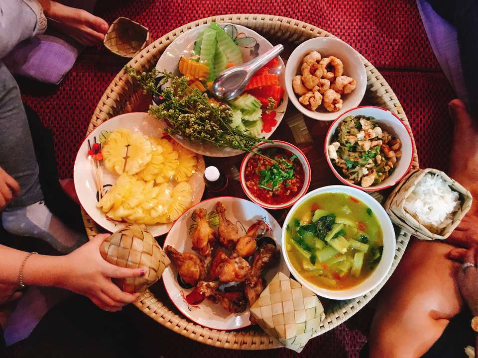 Overhead shot of various Thai dishes