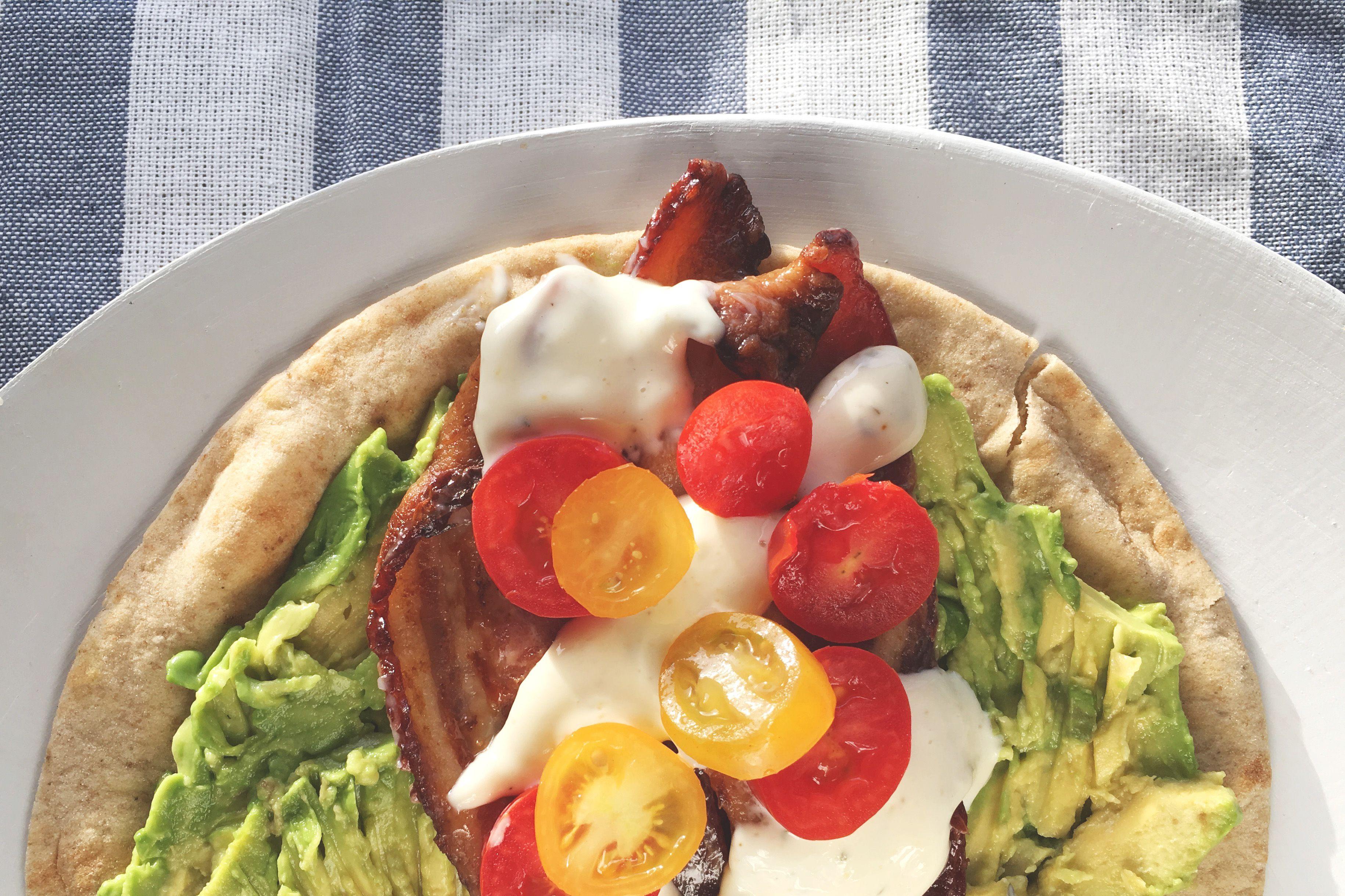 """Avocado, Bacon, No Guilt """"Ranch"""" + Tomato Health Wrap"""
