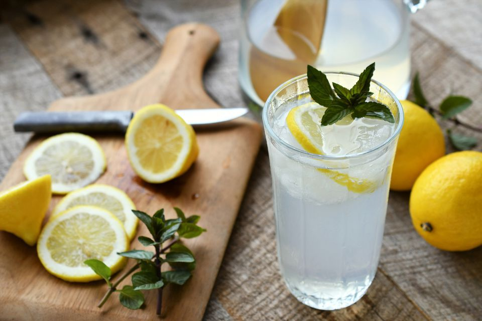 Homemade lemonade and fresh mint