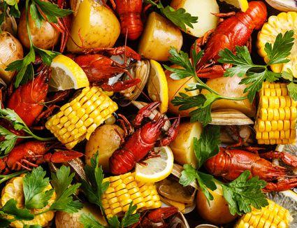 Lobsters, corn, potatoes, clams