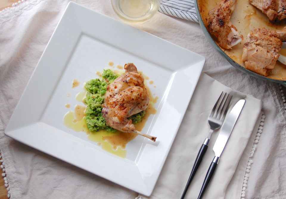 Roasted rabbit with fava pesto