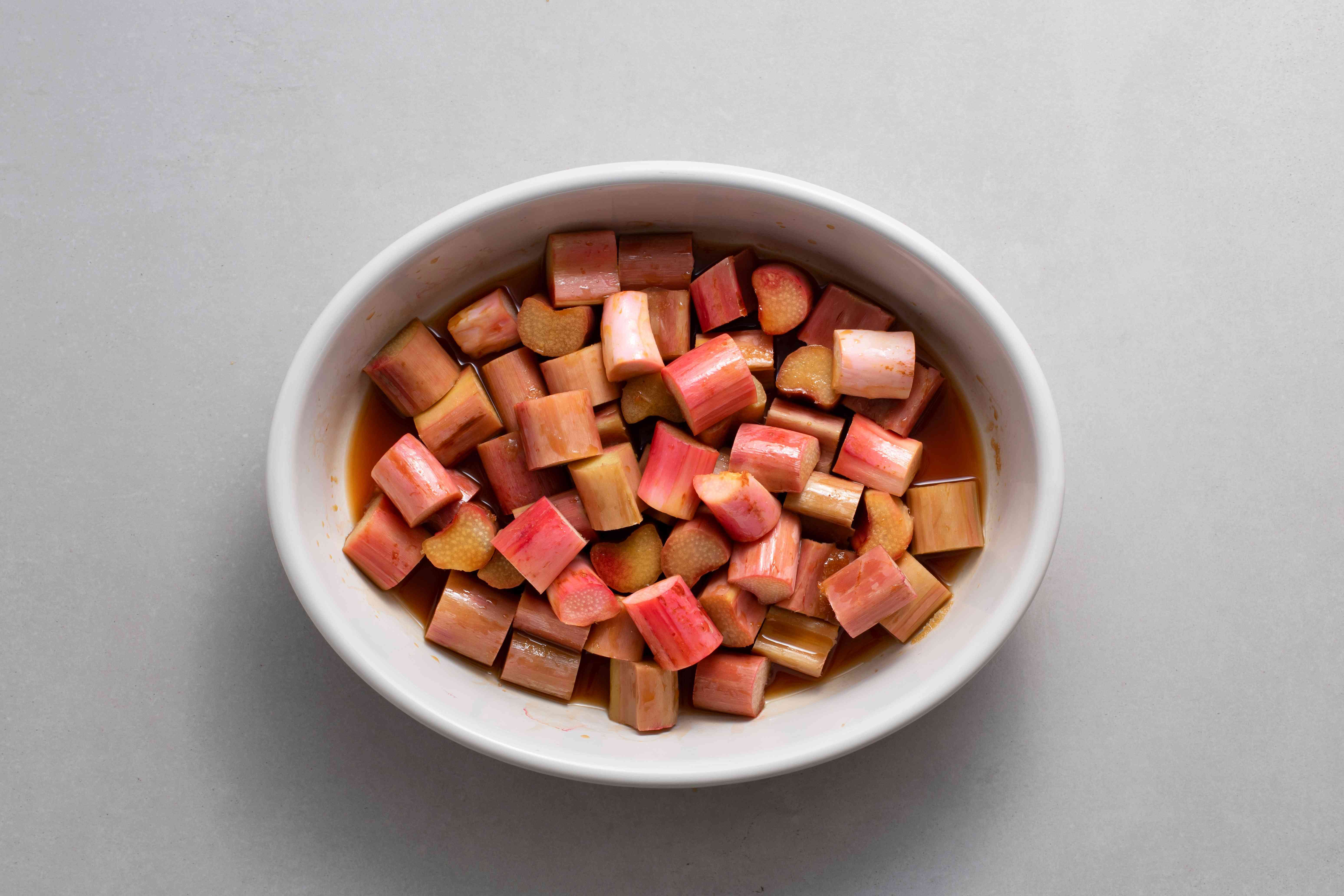 Rhubarb cooling in a baking dish