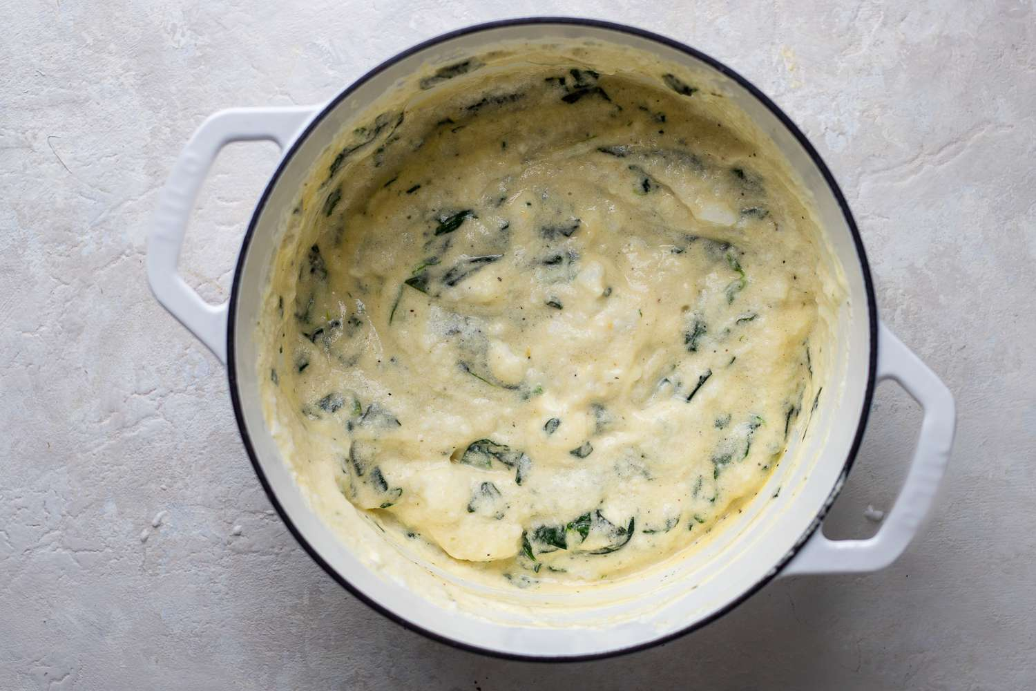 add the remaining egg white mixture to the spinach mixture