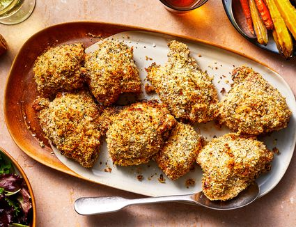 Crispy Baked Chicken Thighs With Panko and Parmesan Coating