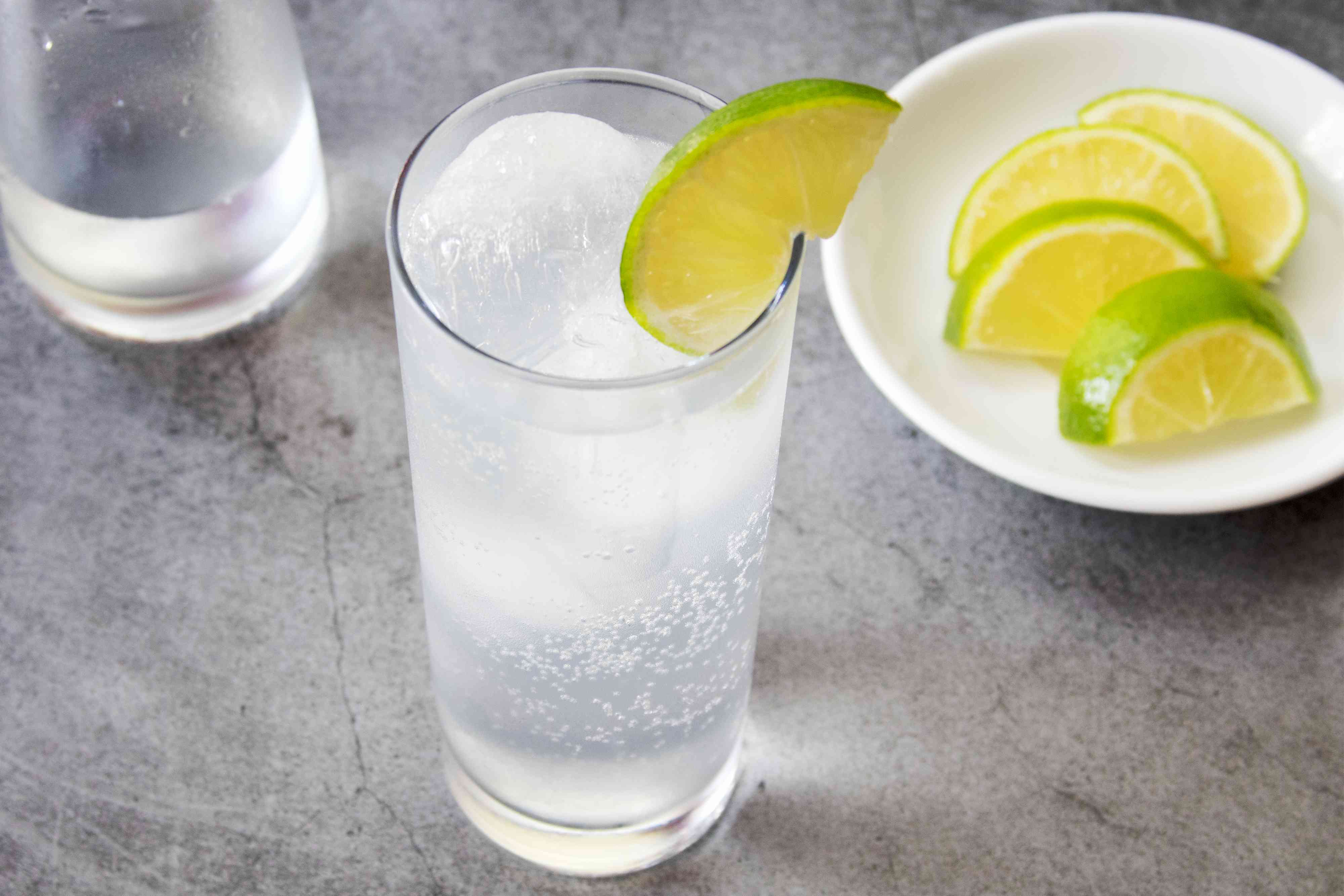 Vodka Tonic Garnished With a Lime Wedge