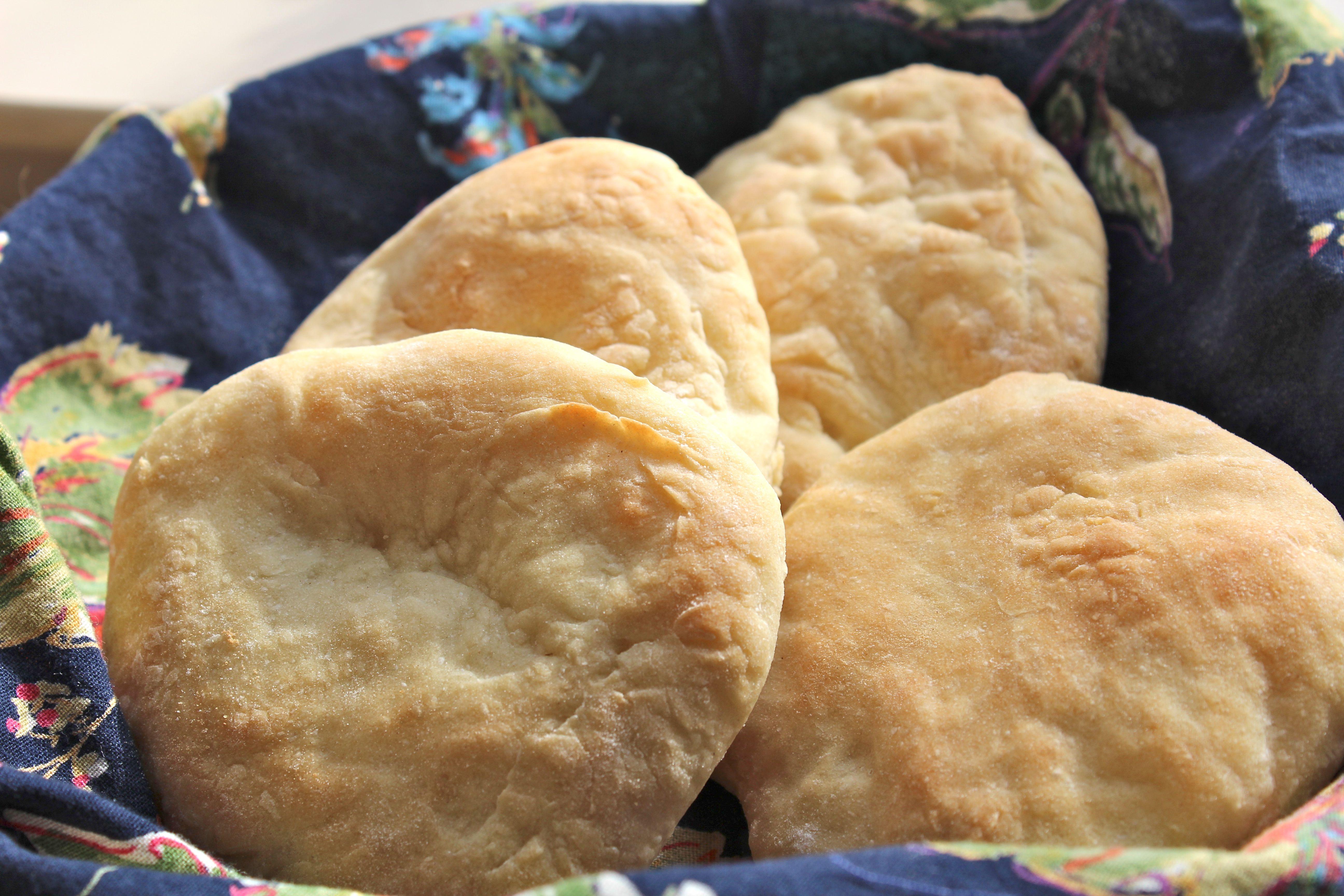 Freshly baked pita breads