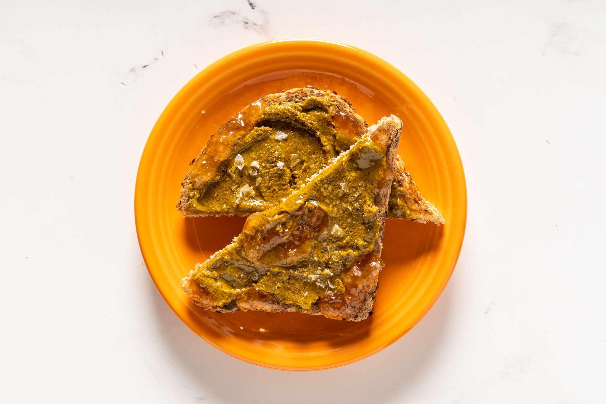Pistachio butter on toast