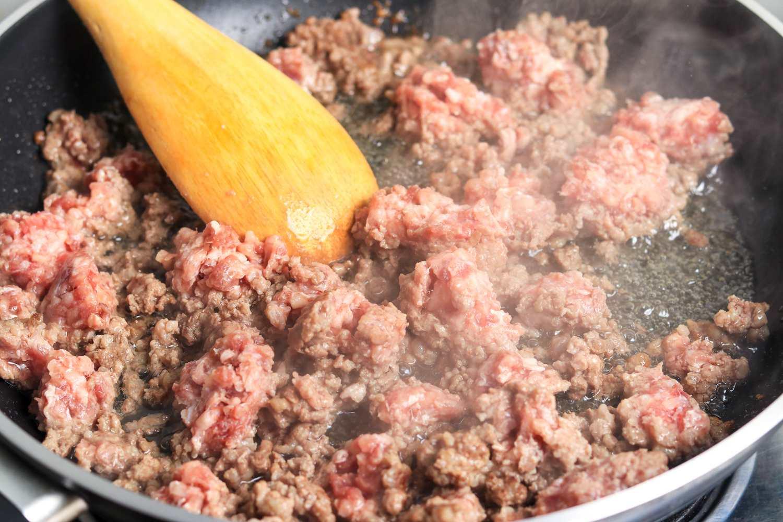 ground beef in skillet