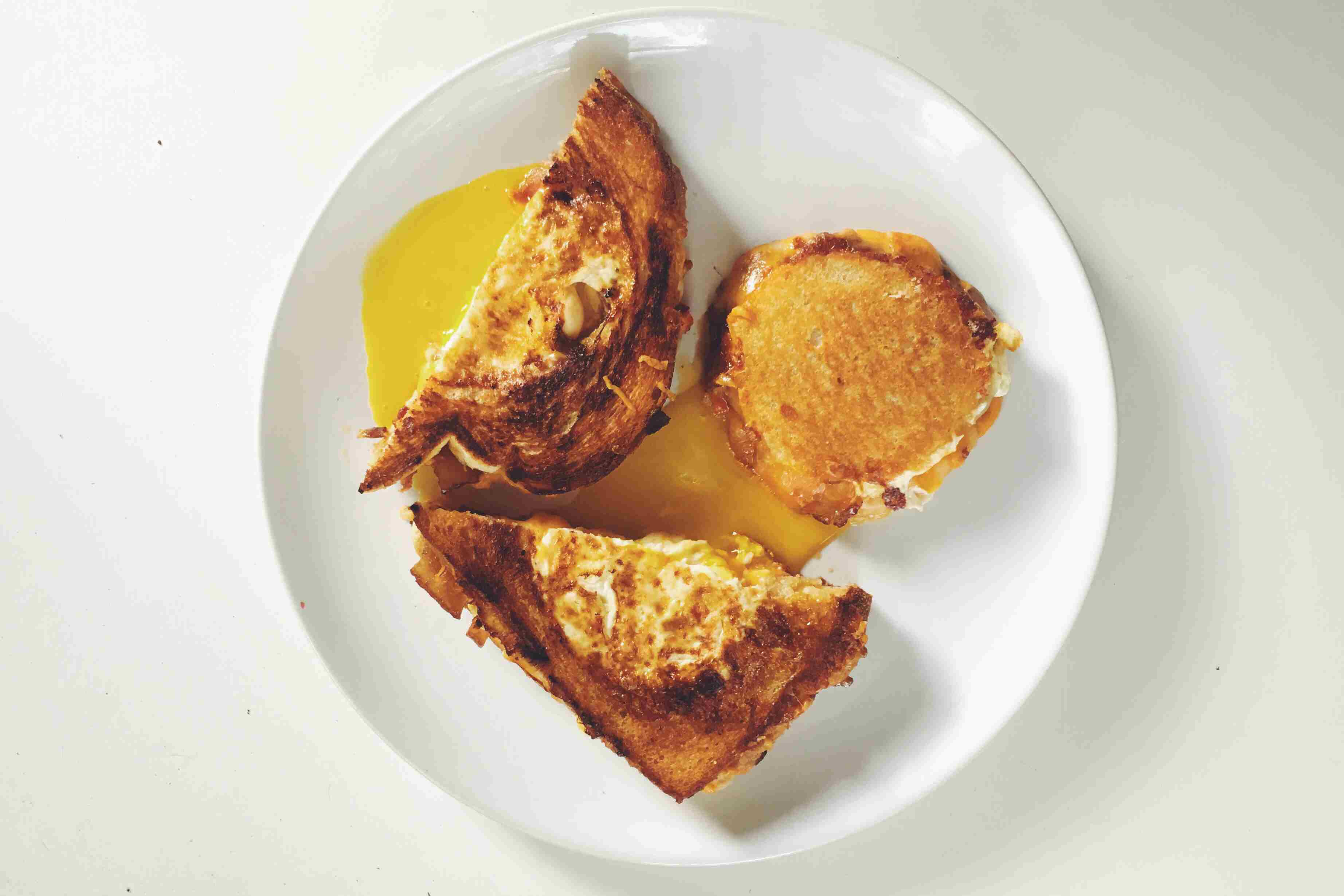 Hole in One Pimento Cheese Grilled Cheese with Candied Bacon