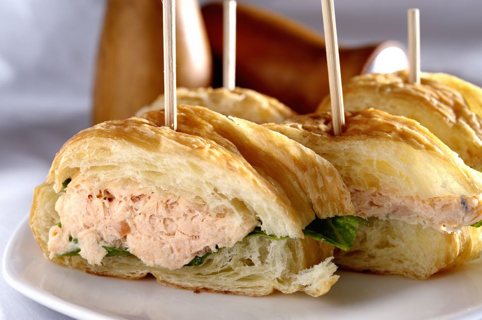Salmon salad on a croissant