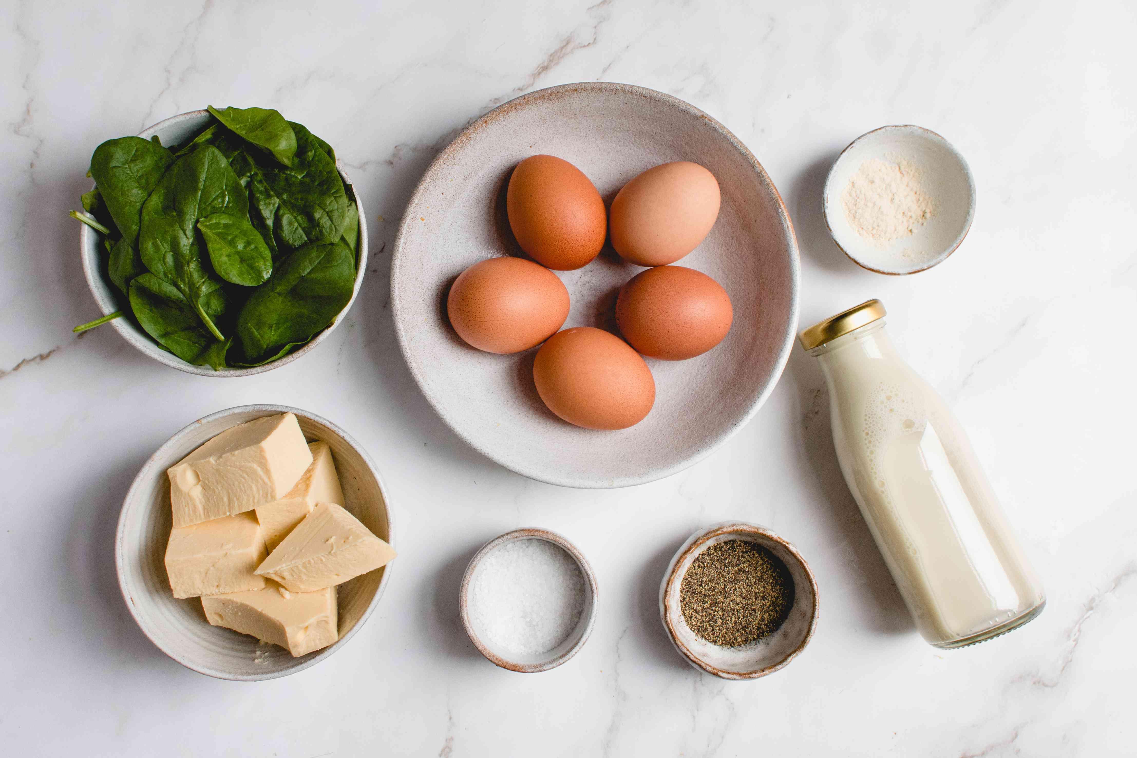 Dairy-Free Crustless Spinach Quiche ingredients