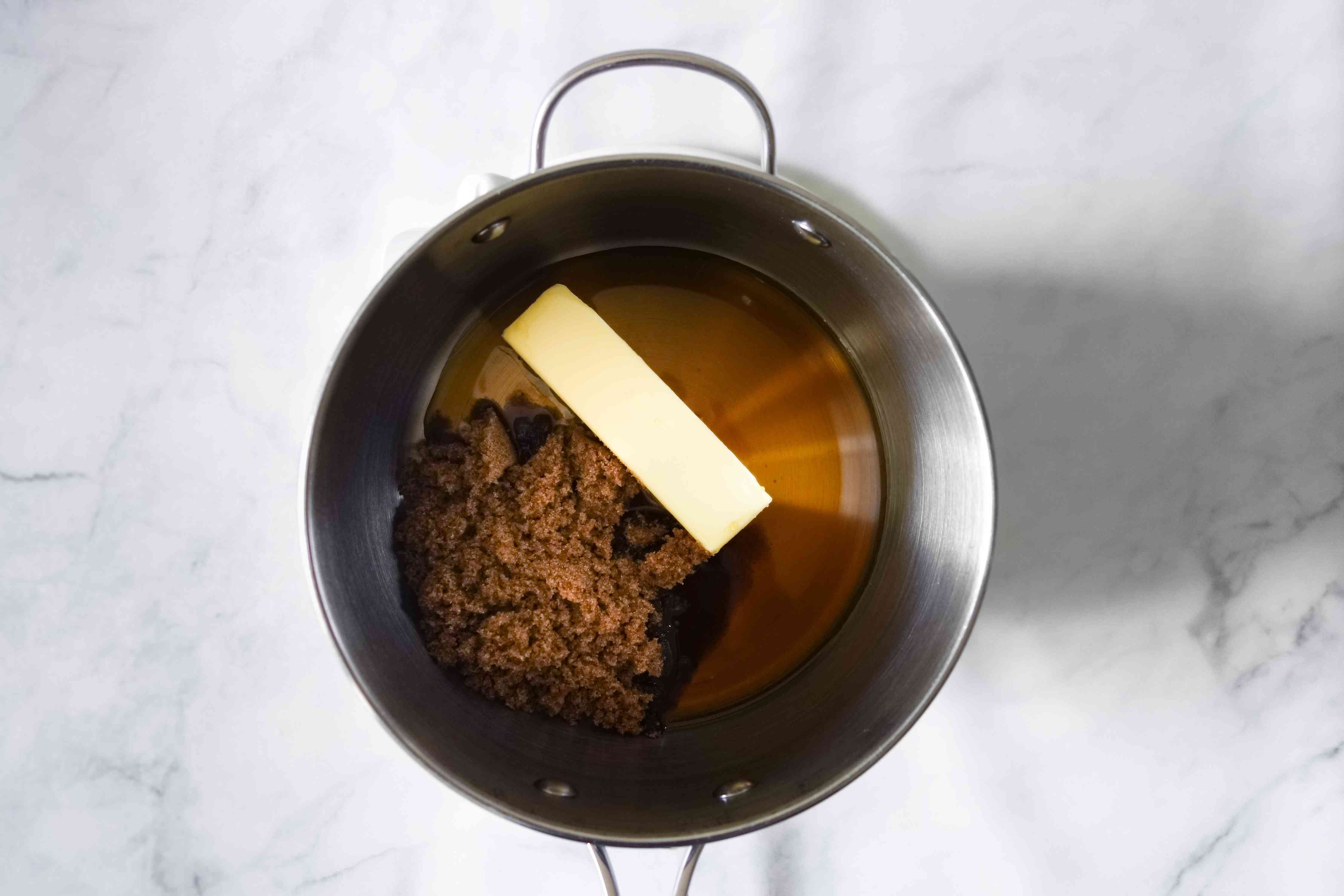 butter, sugar and maple syrup in a saucepan