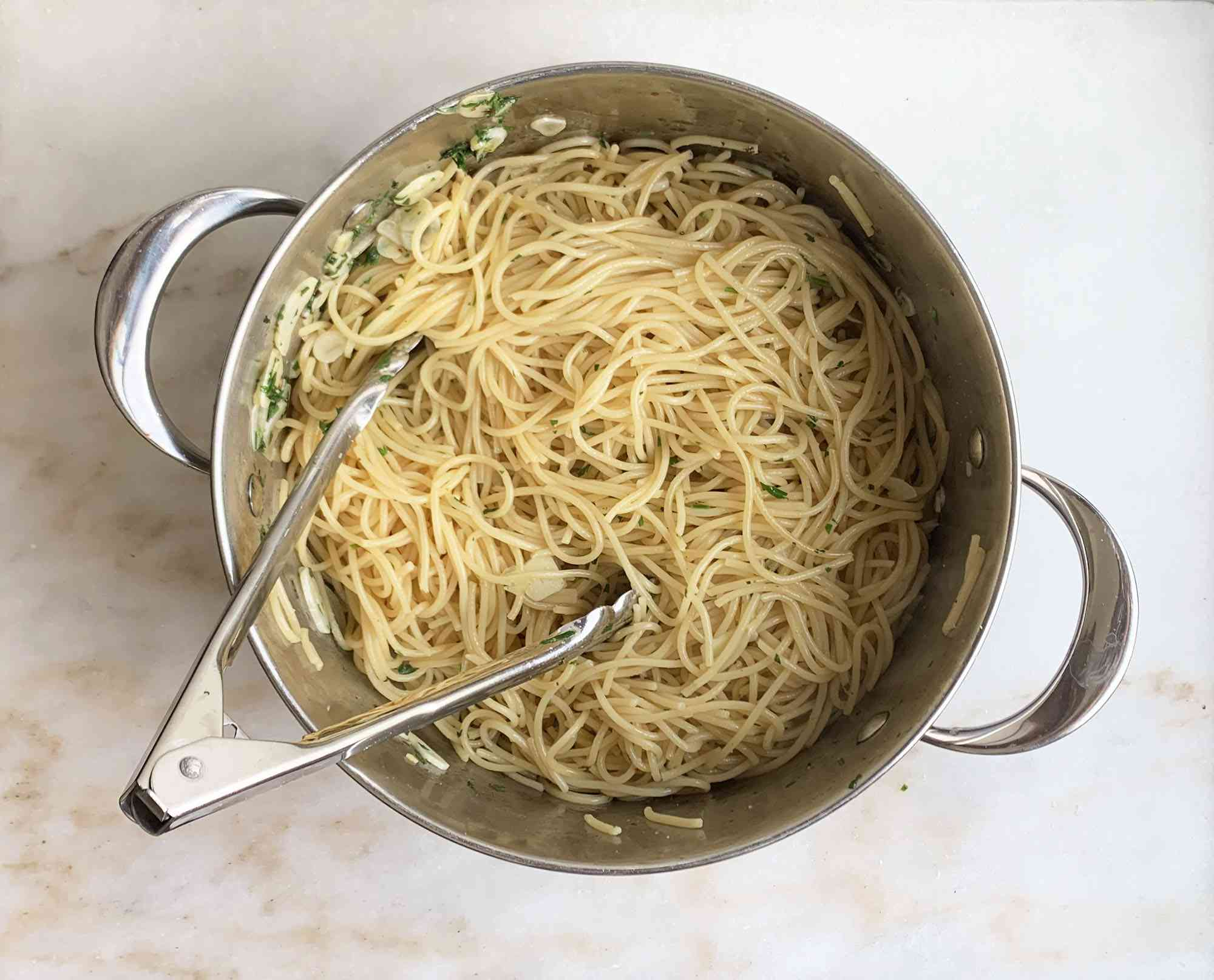 pasta tossed with garlic and oil