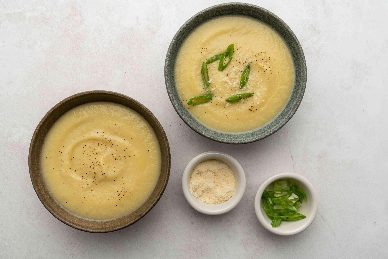 Vegan Cauliflower and Potato Soup in plates