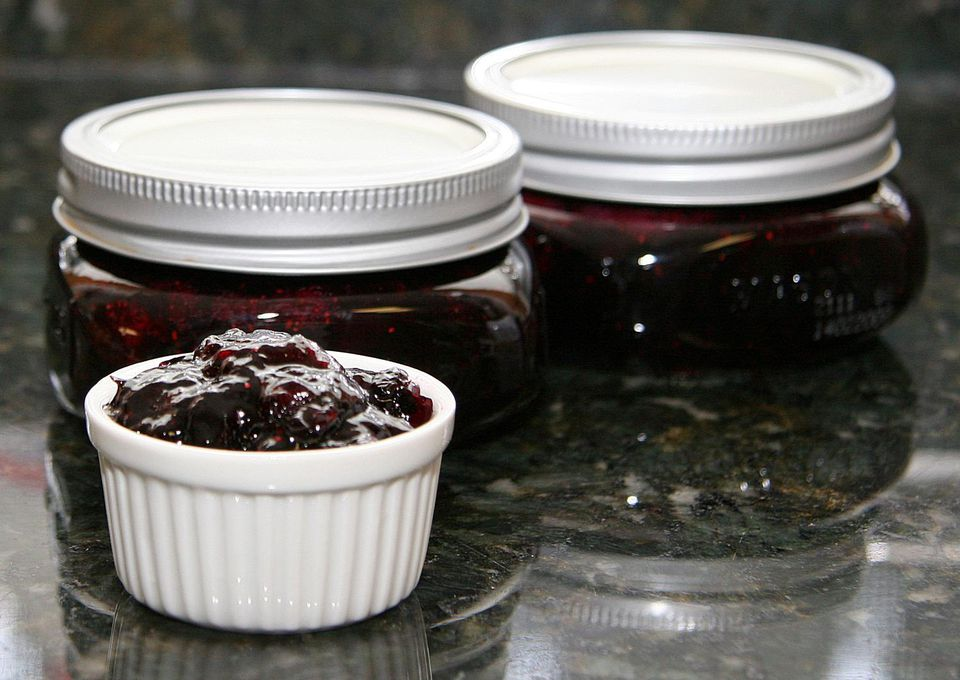 Blueberry Jam in jars and a dish