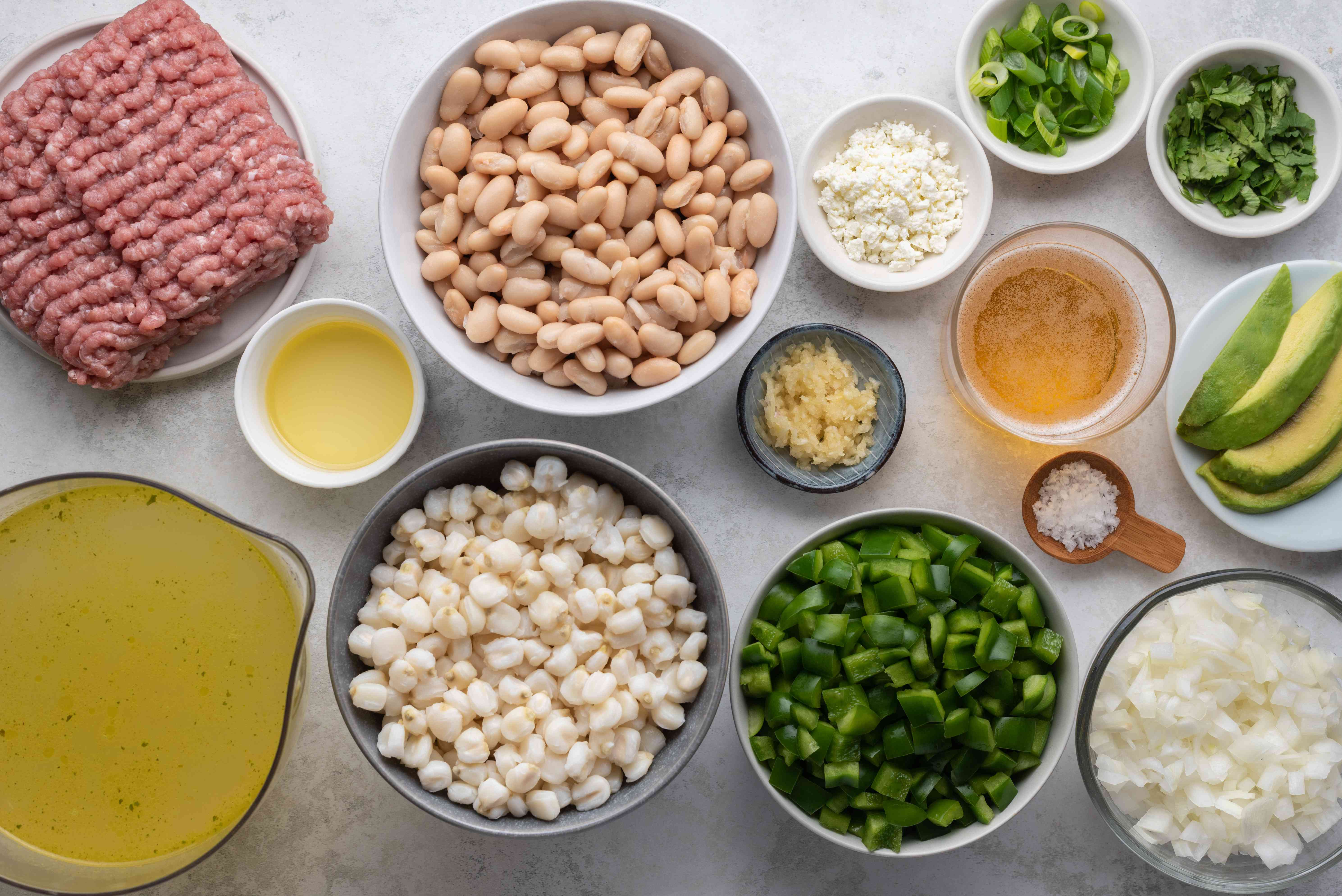 Ingredients to make green turkey chili
