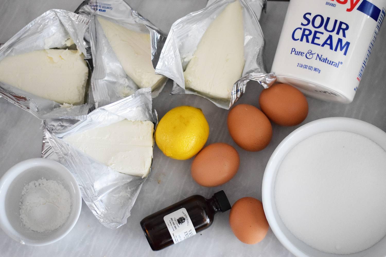 Cream cheese, eggs, lemon, sour cream