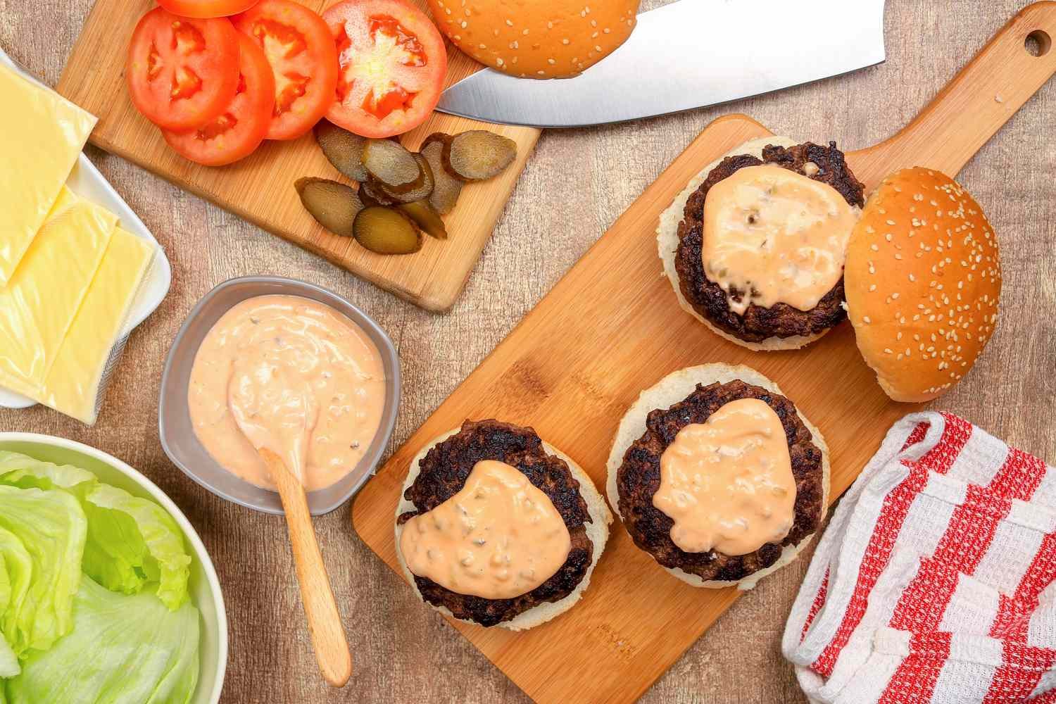 Serving burgers with McDonald's Famous Special Sauce