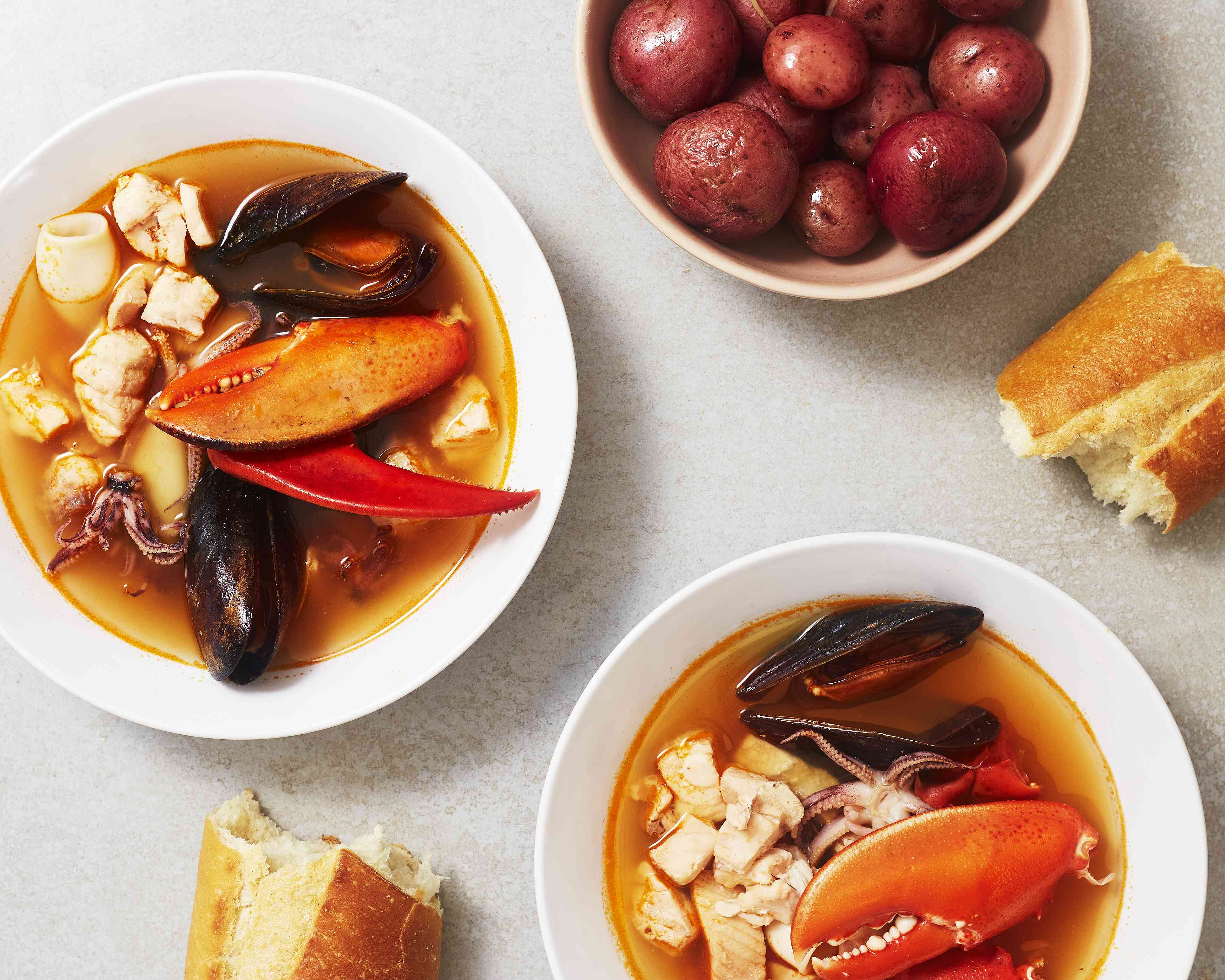 Bouillabaisse, Classic Seafood Stew, Serve with steamed whole baby red potatoes tossed with olive oil and salt and toasted baguette