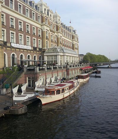 A-bar's terrace offers views of the Amstel river