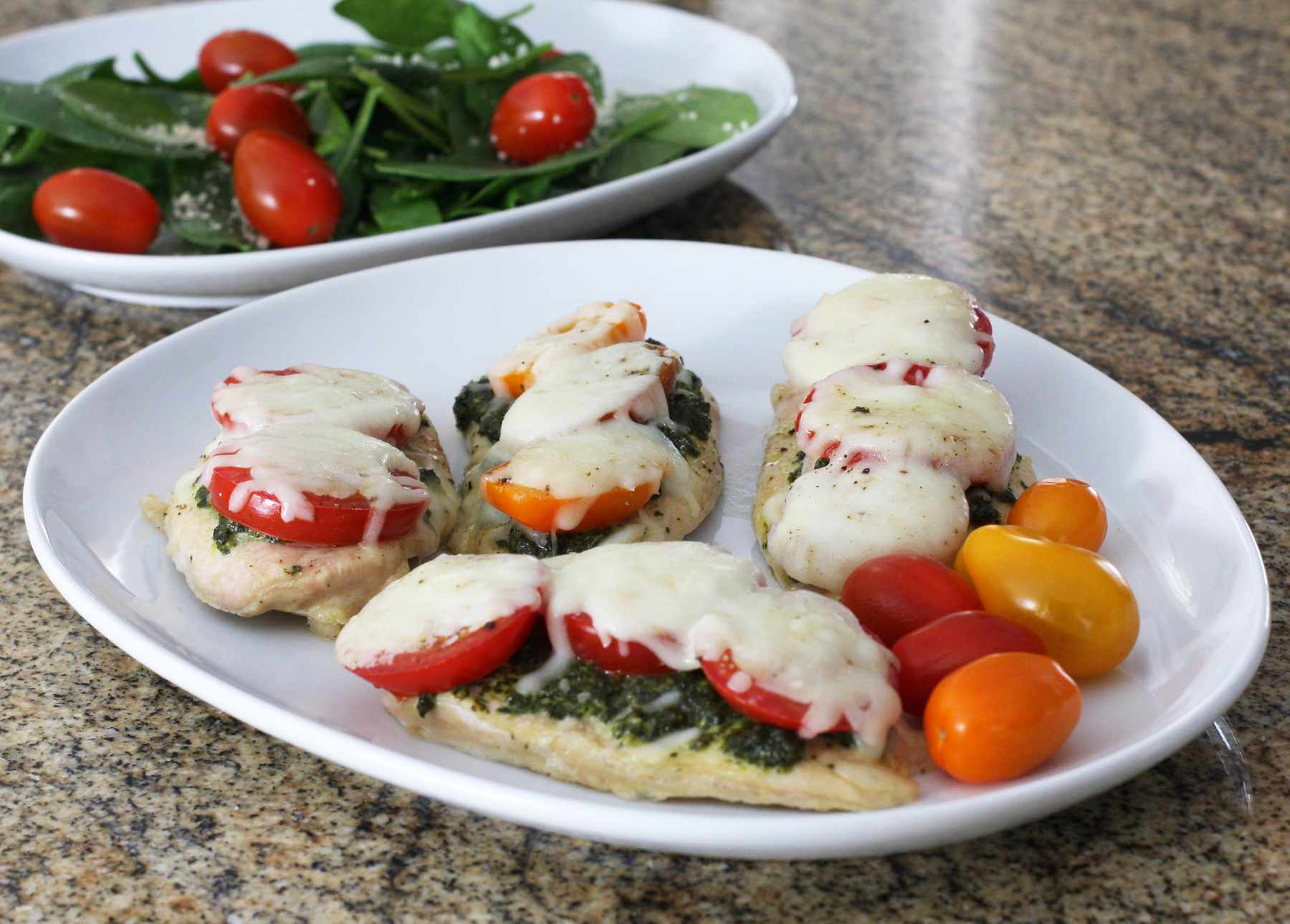 Baked Chicken Recipe With Pesto, Tomatoes, and Mozzarella