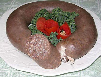 A plate of Polish Kiszka (blood sausage)