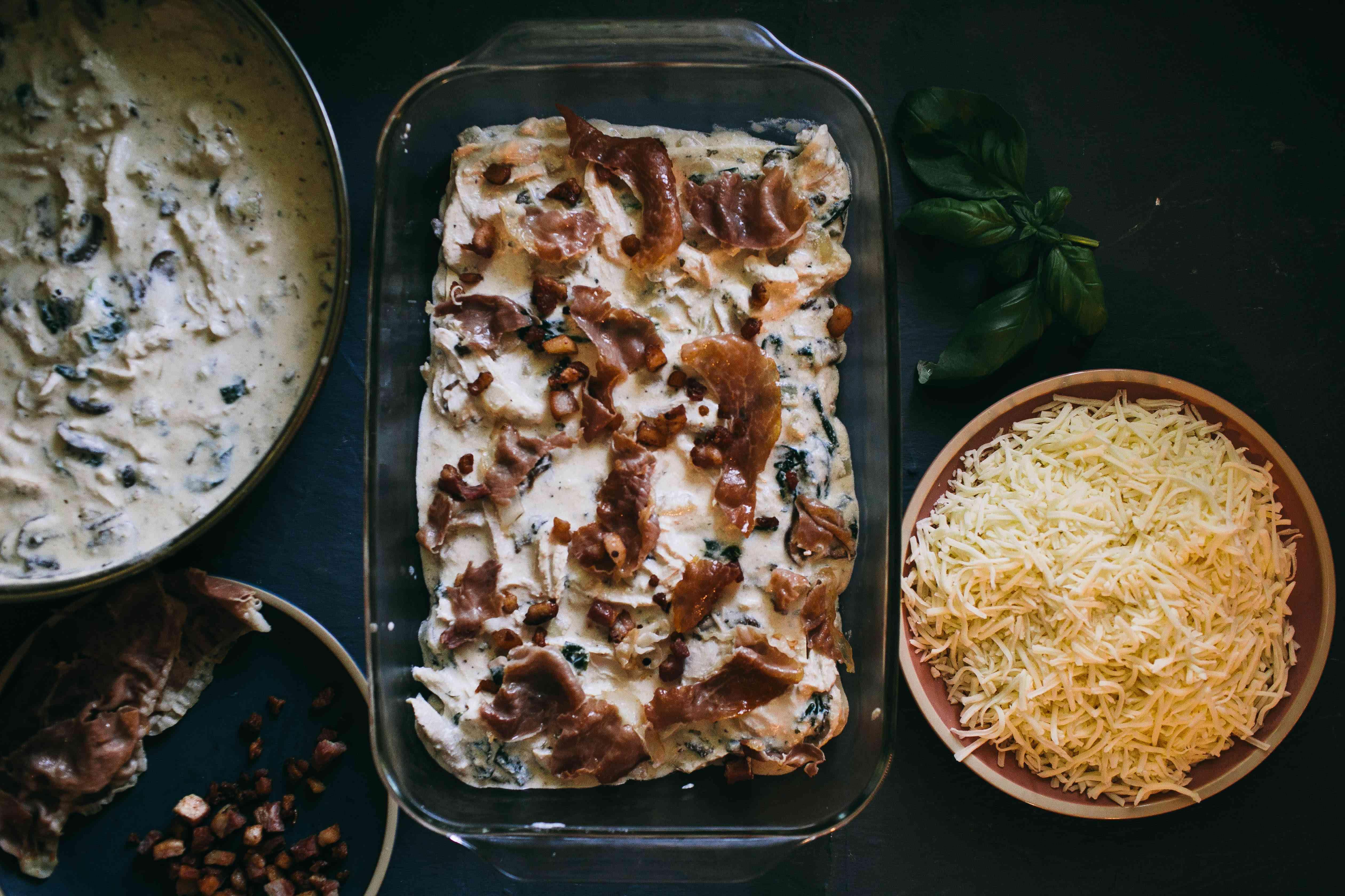 layered pasta, alfredo mixture, pancetta, prosciutto for lasagna
