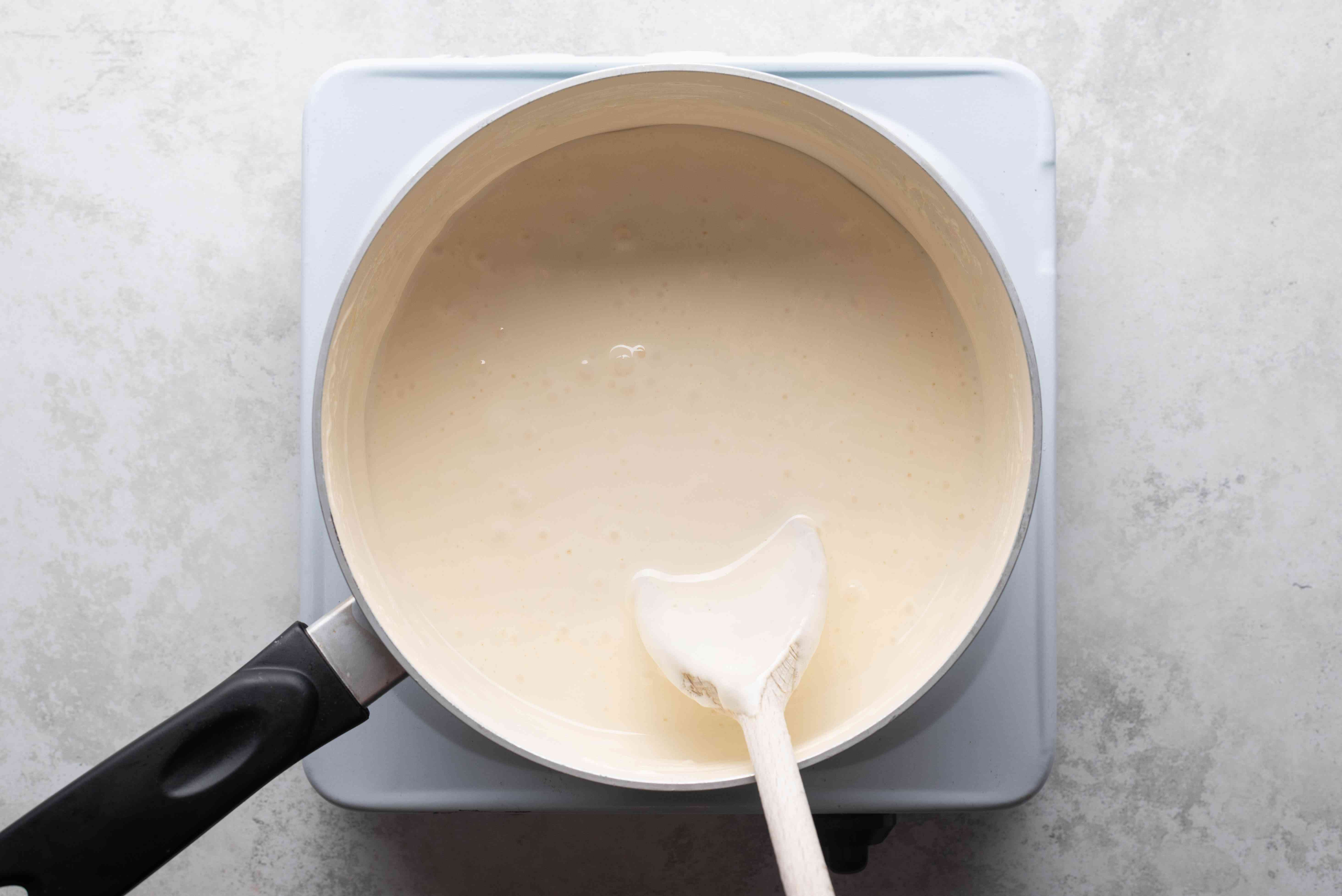 marshmallow and butter mixture in a pan
