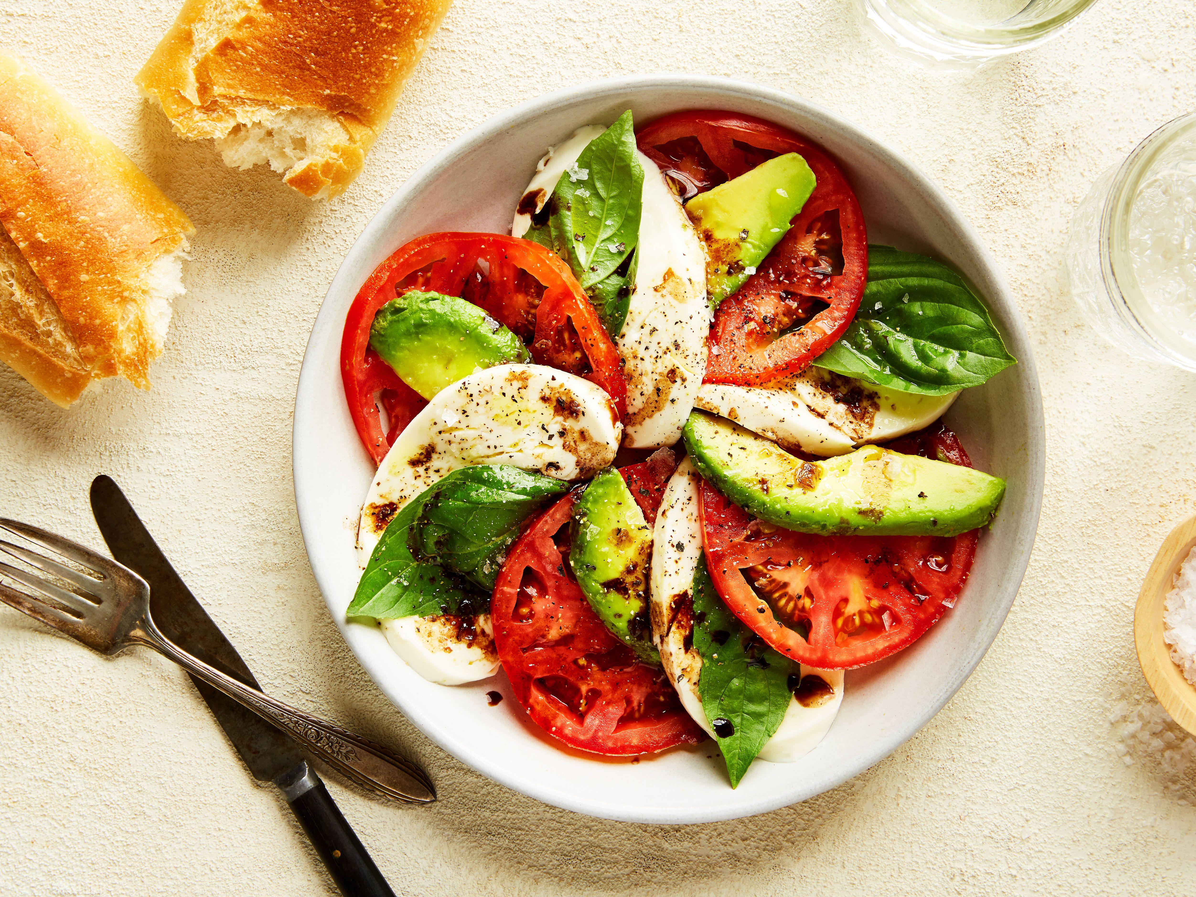 Avocado Tomato And Mozzarella Caprese Salad Recipe