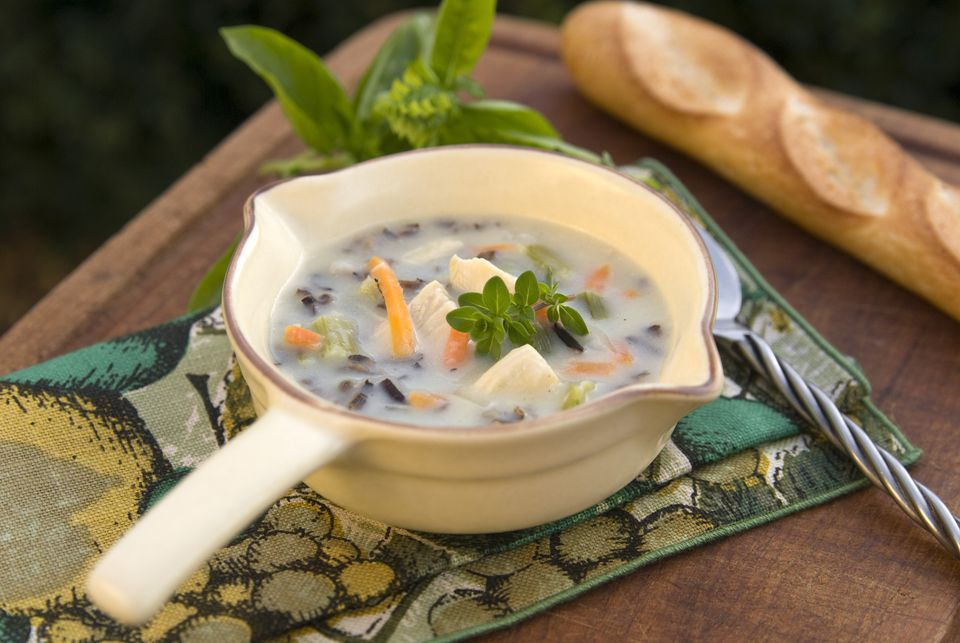homemade chicken vegetable & wild rice soup with baguette
