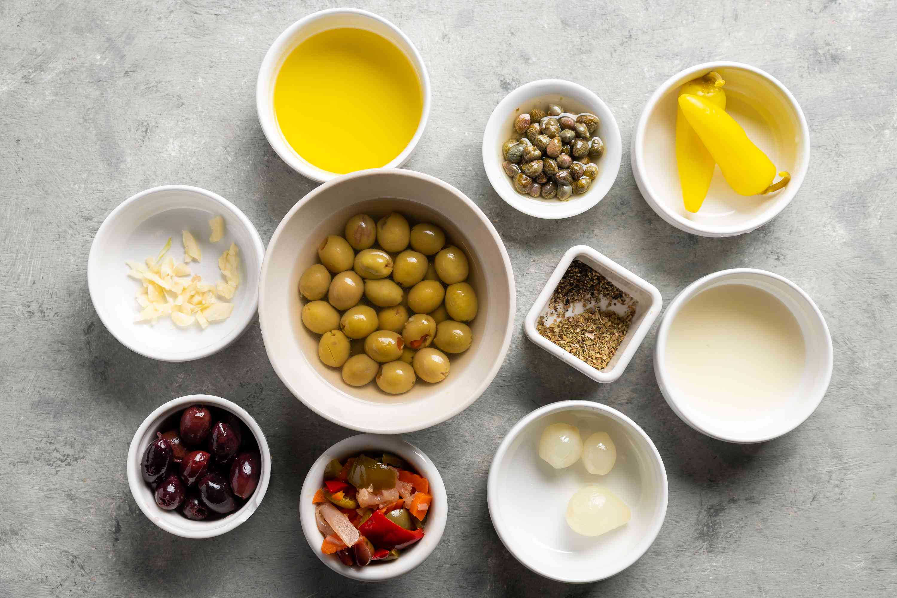 Ingredients for the best olive salad for a muffaletta