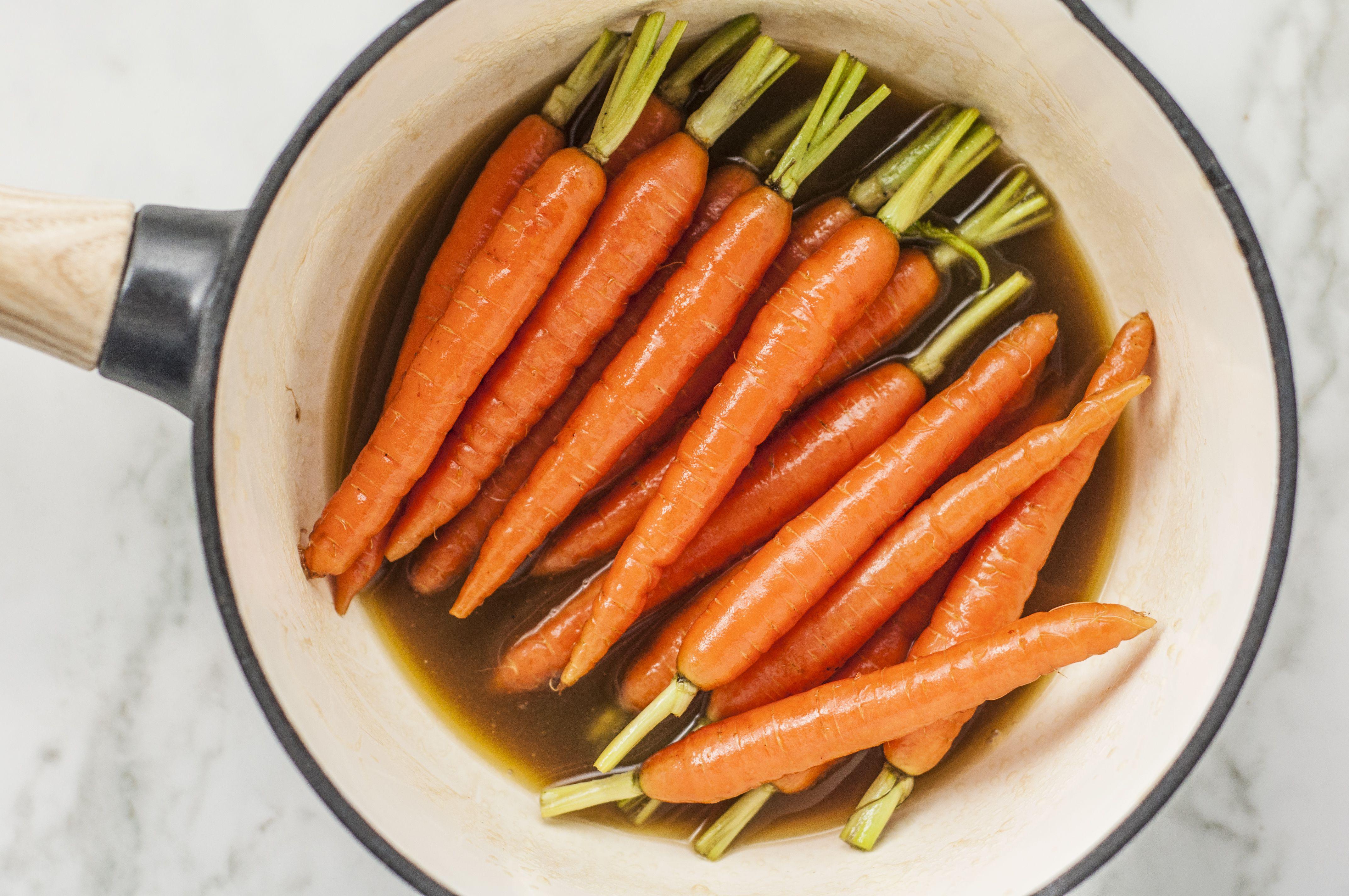 Brown sugar glazed carrots in pot