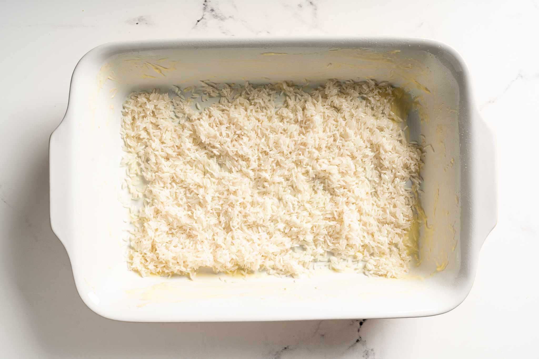 Rice in a casserole dish