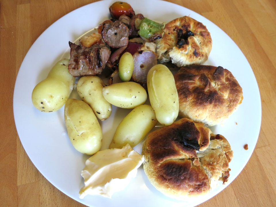 Homegrown new potatoes, knish and kebabs