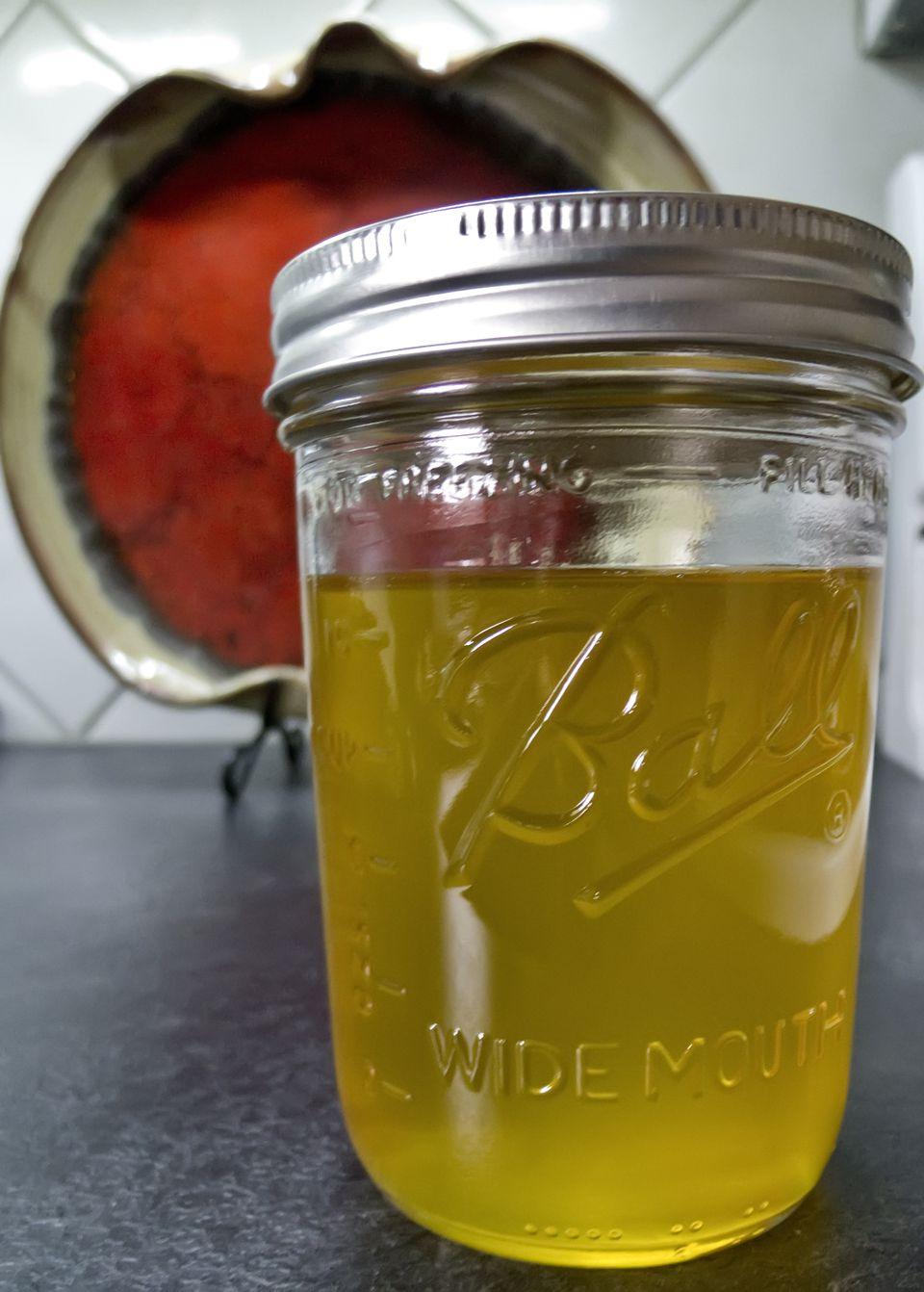 clear jar of ghee