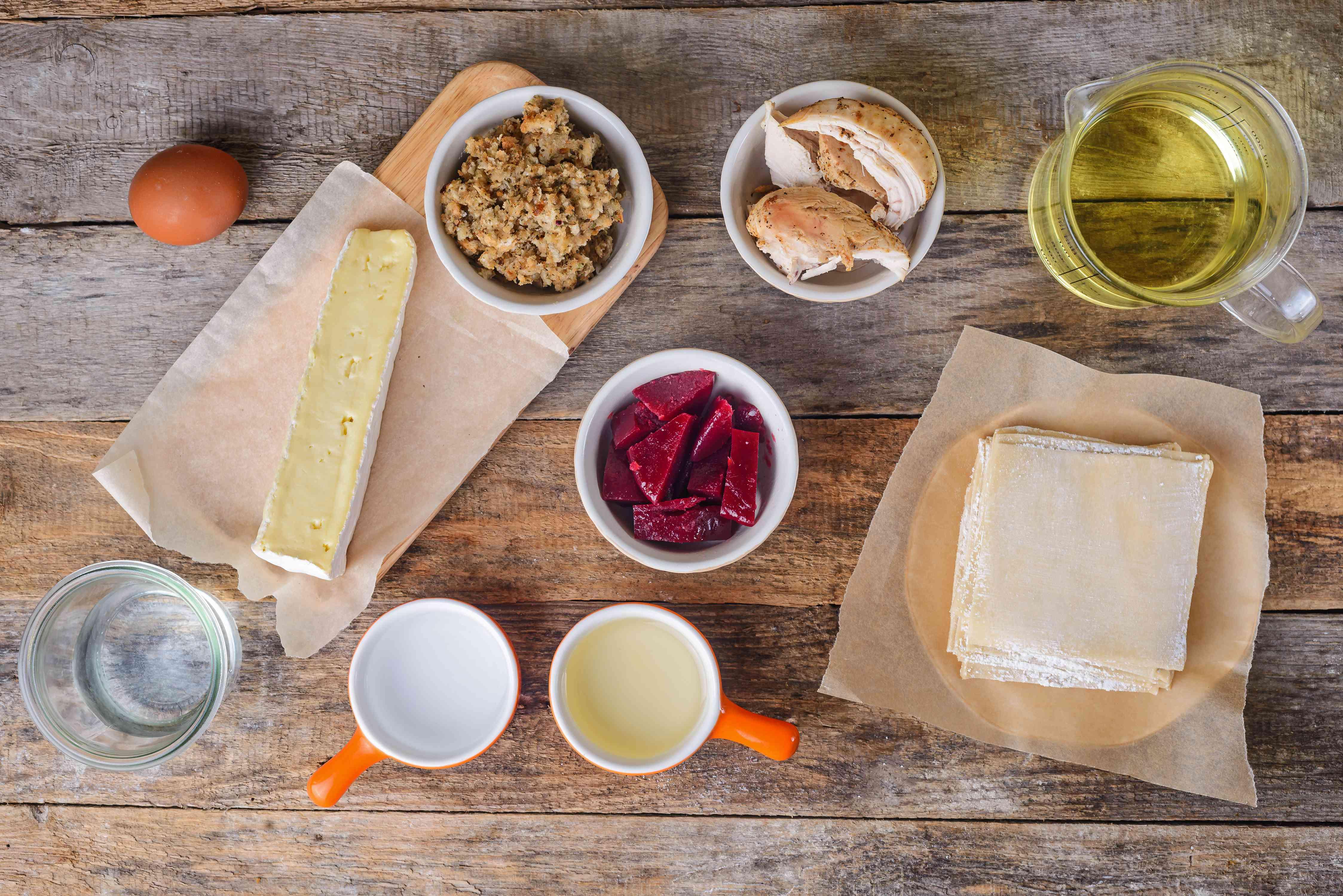 Ingredients for Thanksgiving egg rolls