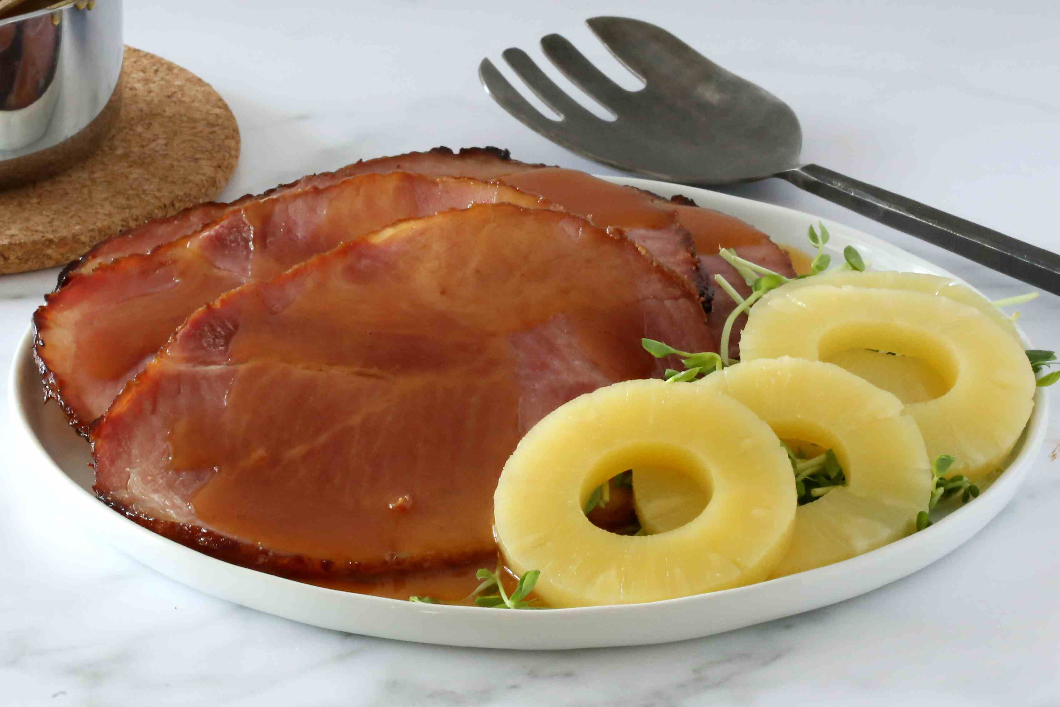 Ham with pineapple slices.