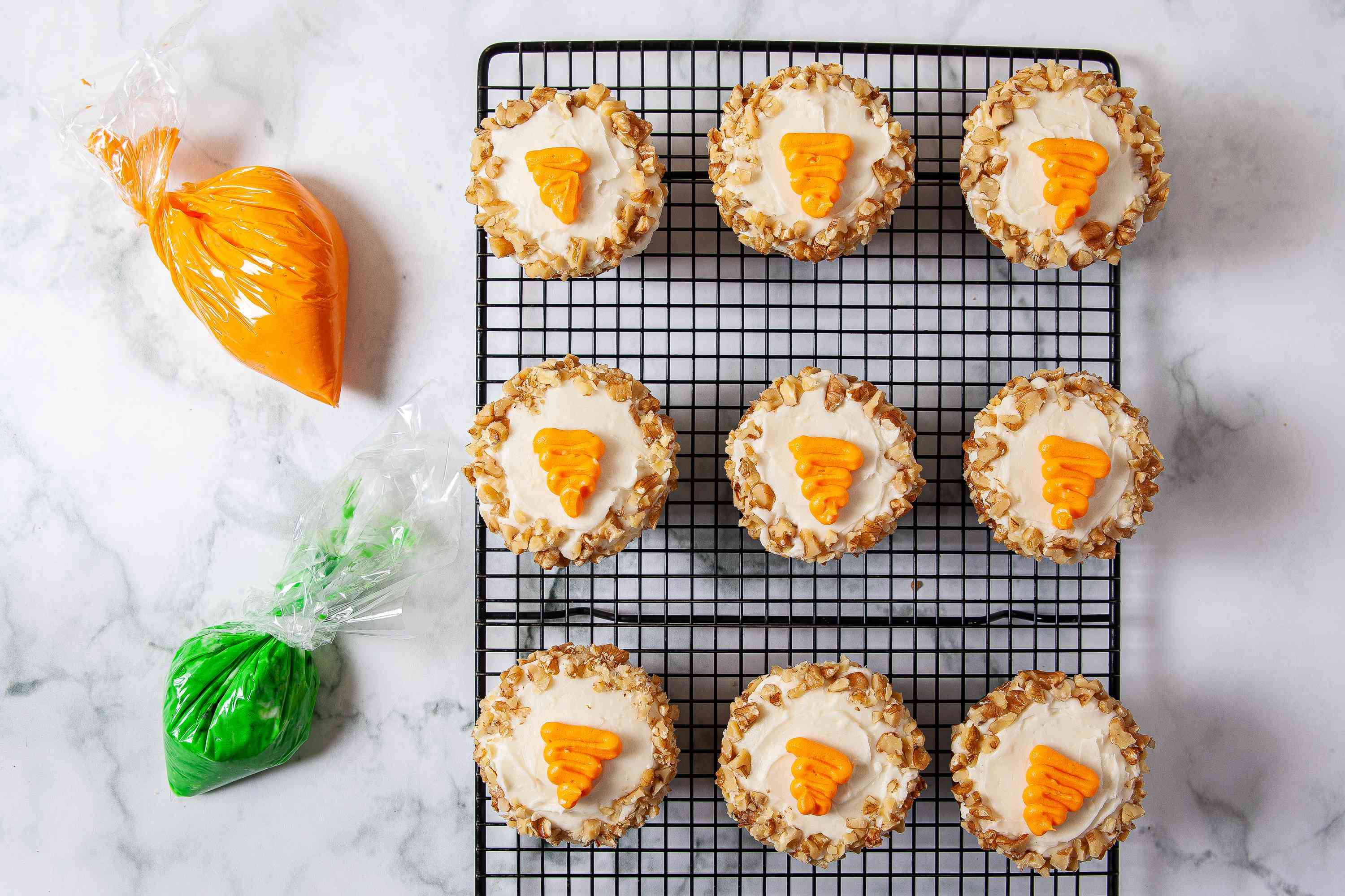 Carrot Cake Cupcakes being decorated