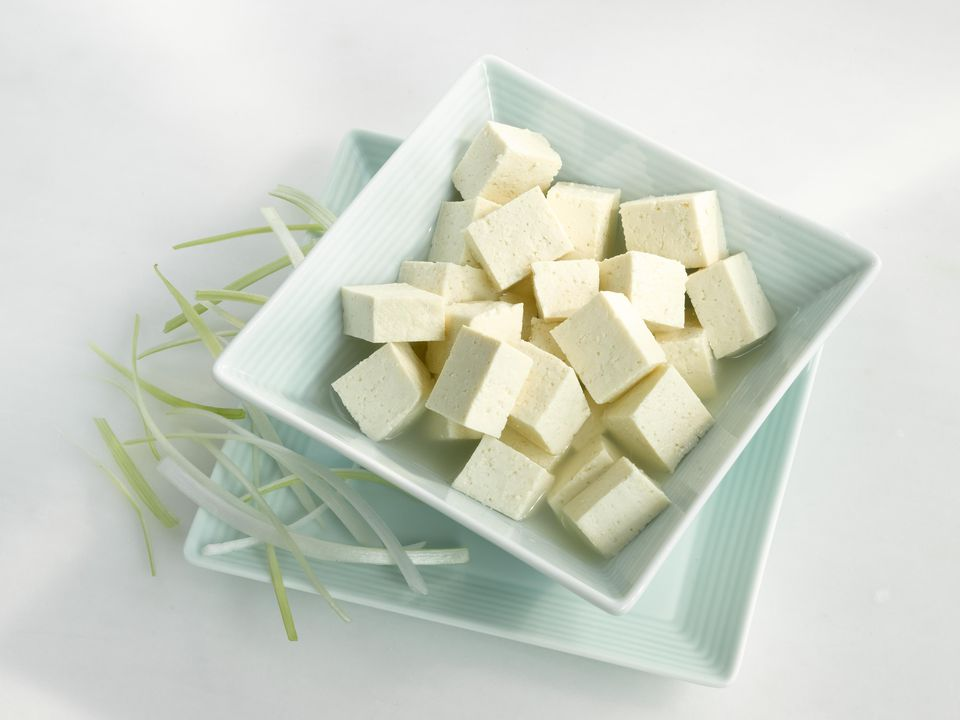 Bowl of tofu cubes