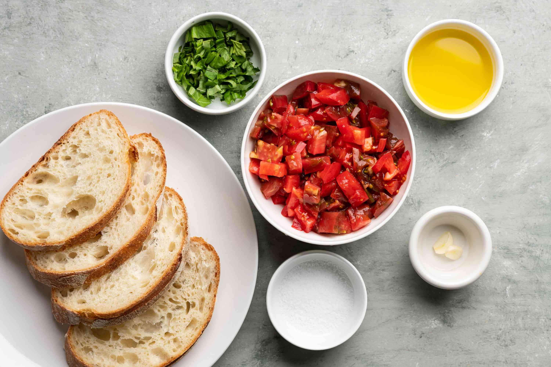 Authentic Bruschetta ingredients