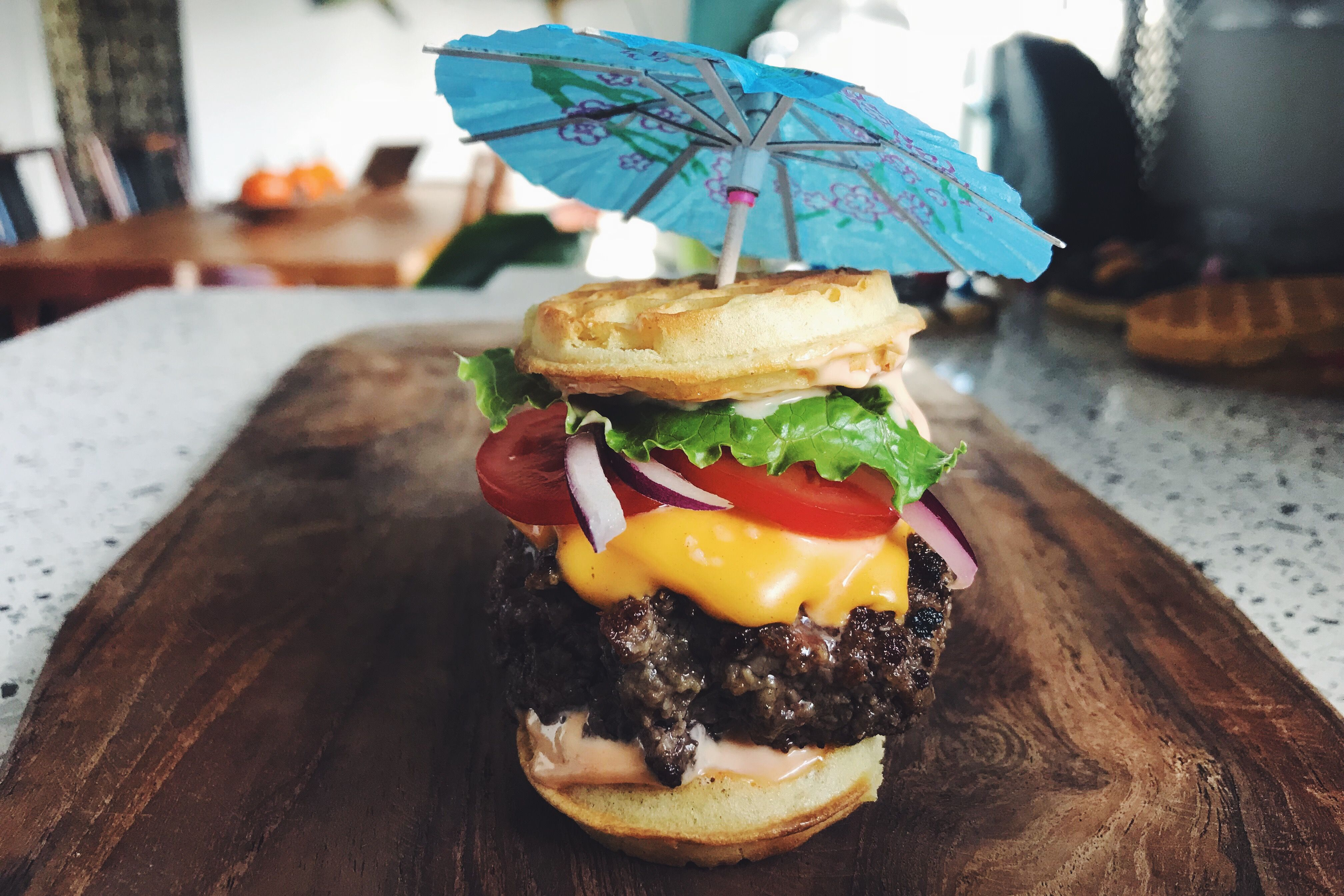 Waffle Slider with Special Sauce