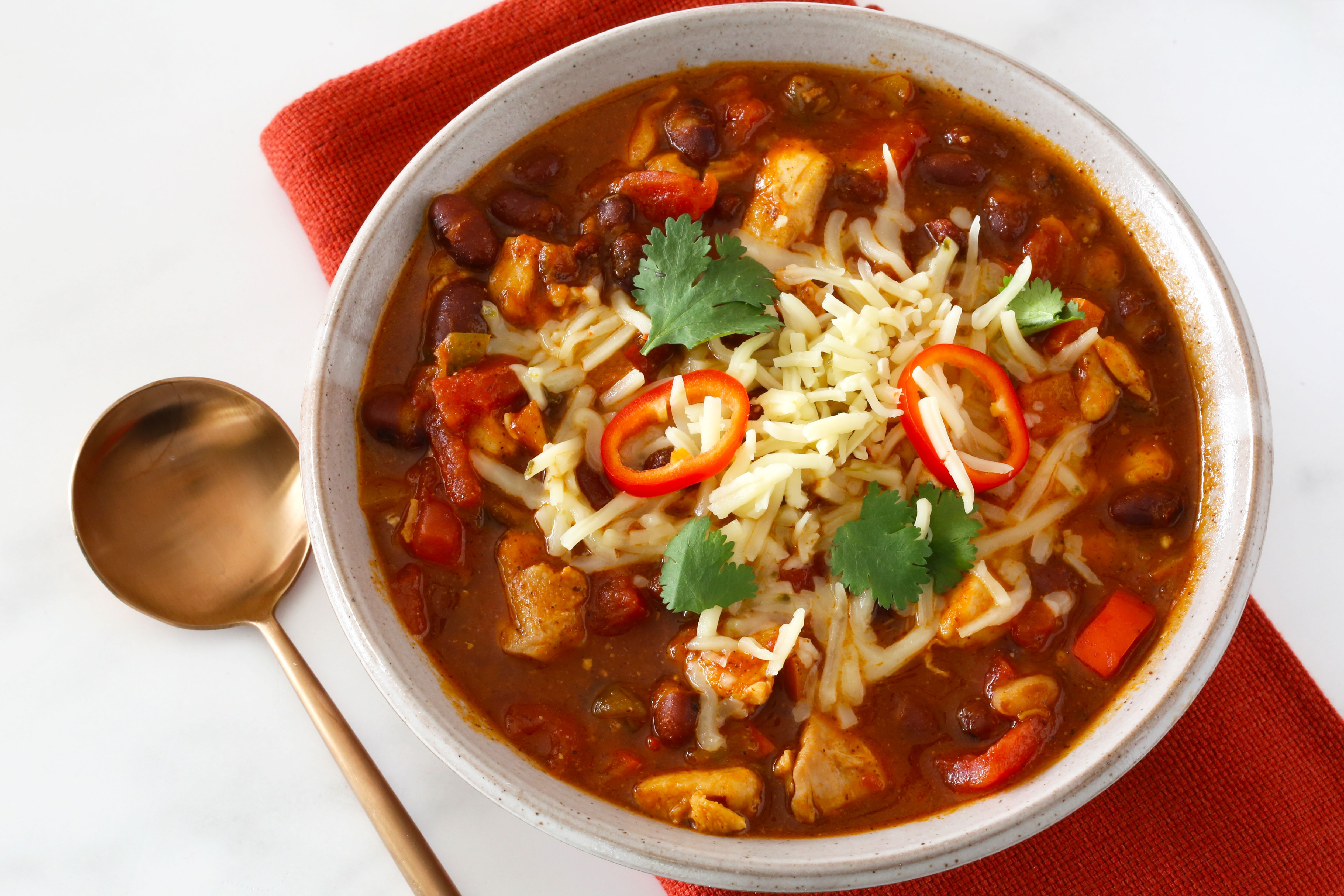 Chicken and red bean chili in a bowl.