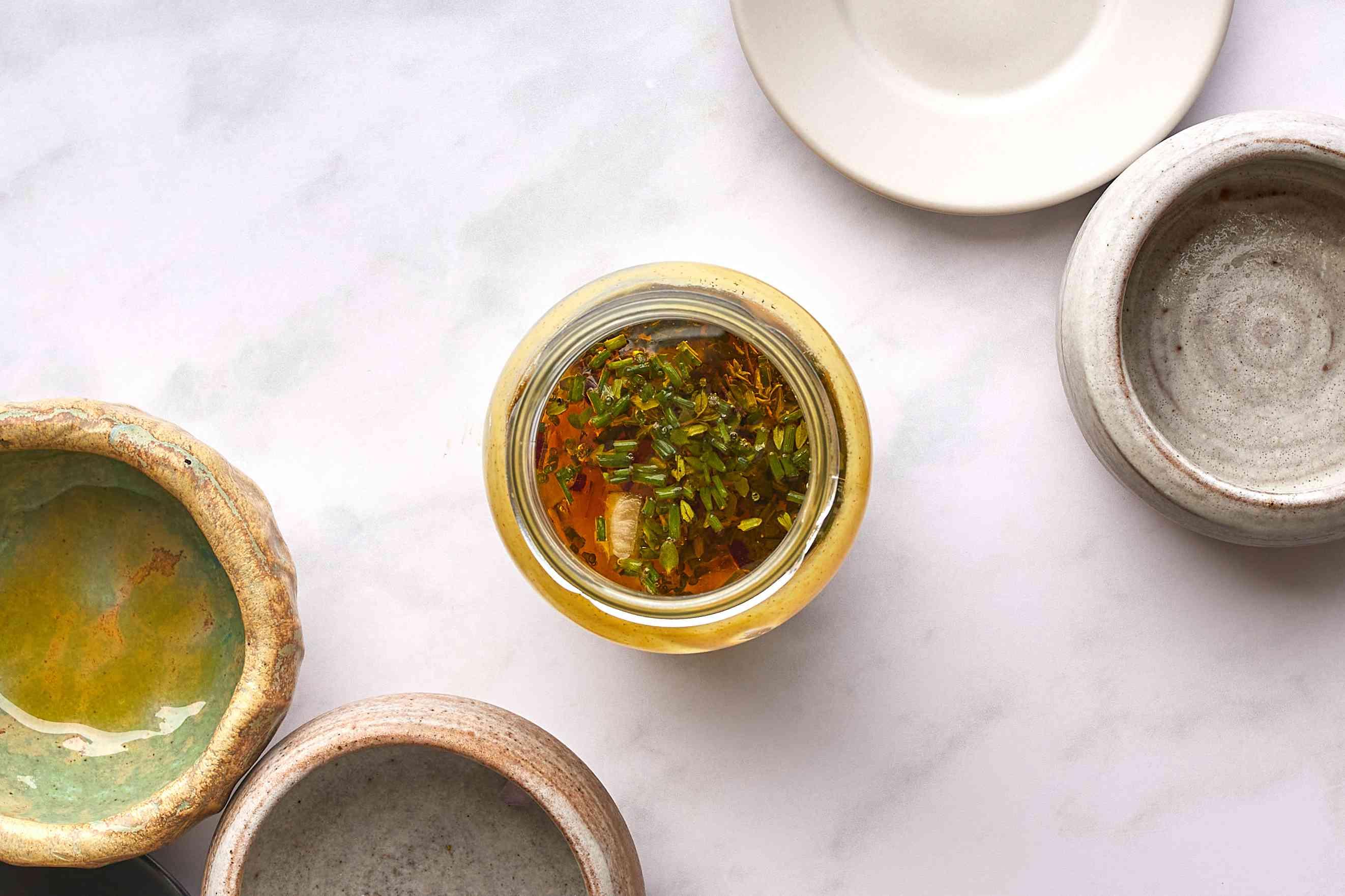 all of the Easy Mustard Jar Salad Dressing ingredients in a jar