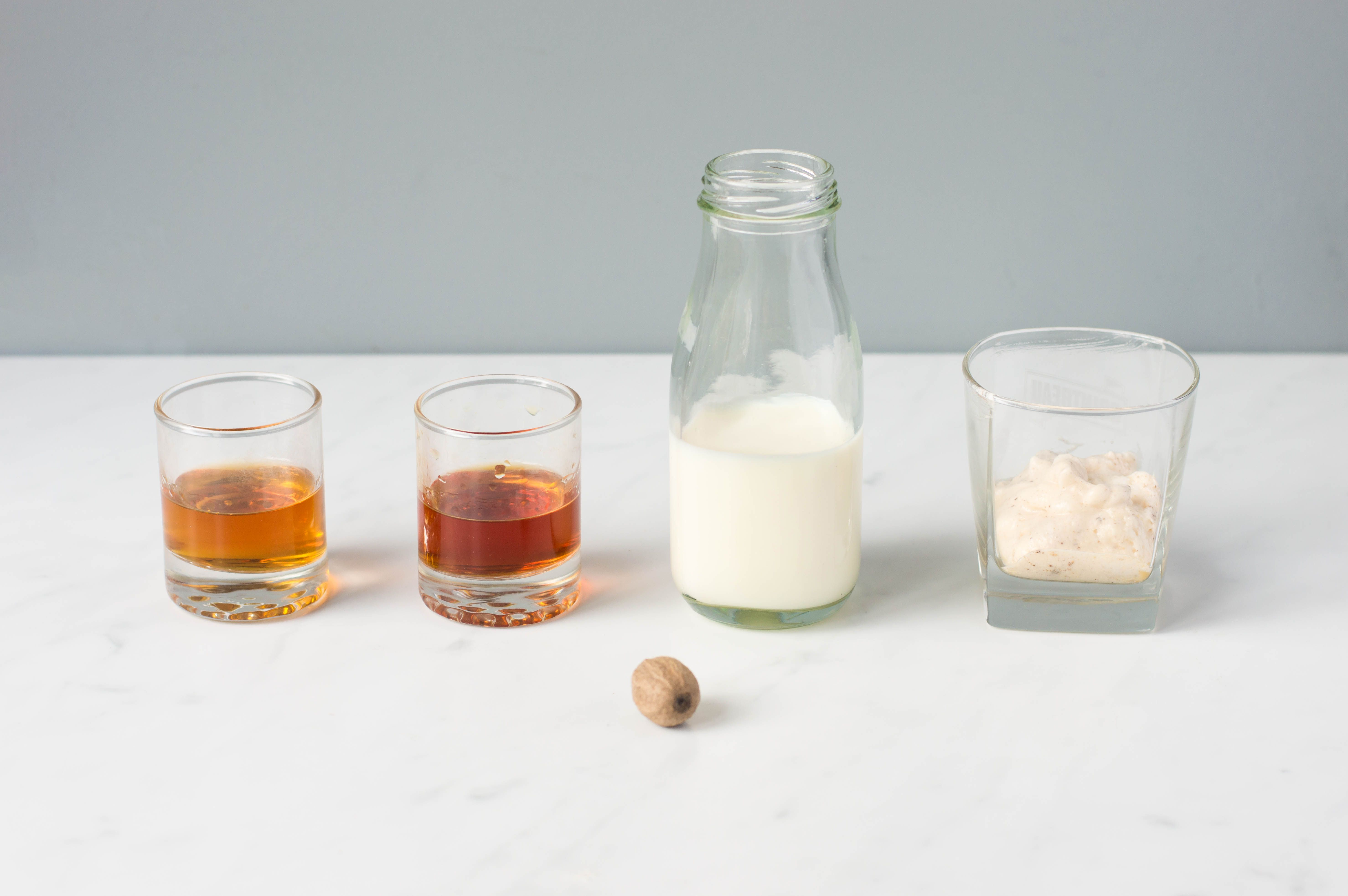 Ingredients for making the Tom and Jerry cocktail