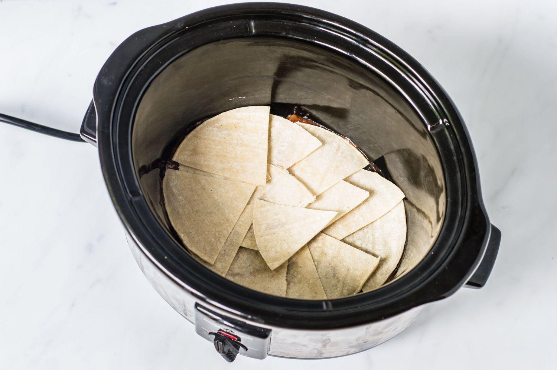 Tortilla wedges in crock pot