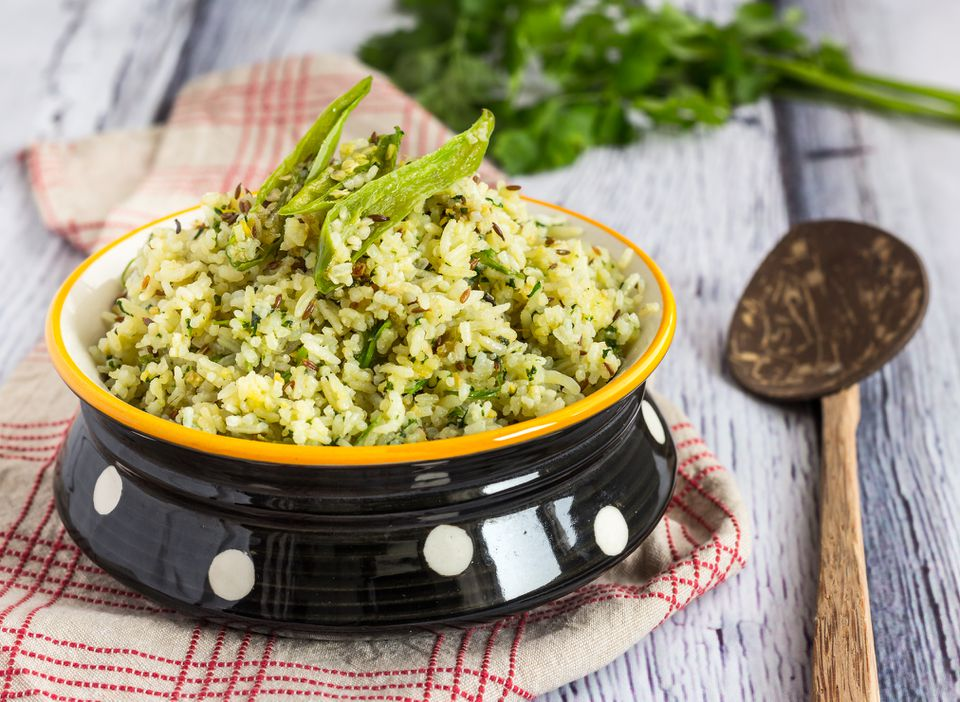 Jeera rice topped with coriander leaves