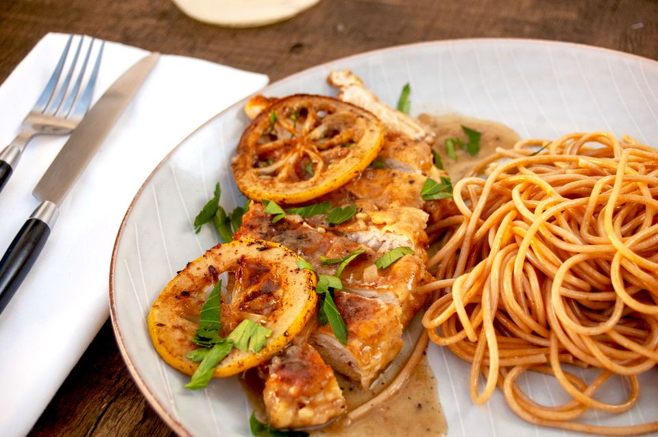 chicken francese with whole wheat spaghetti
