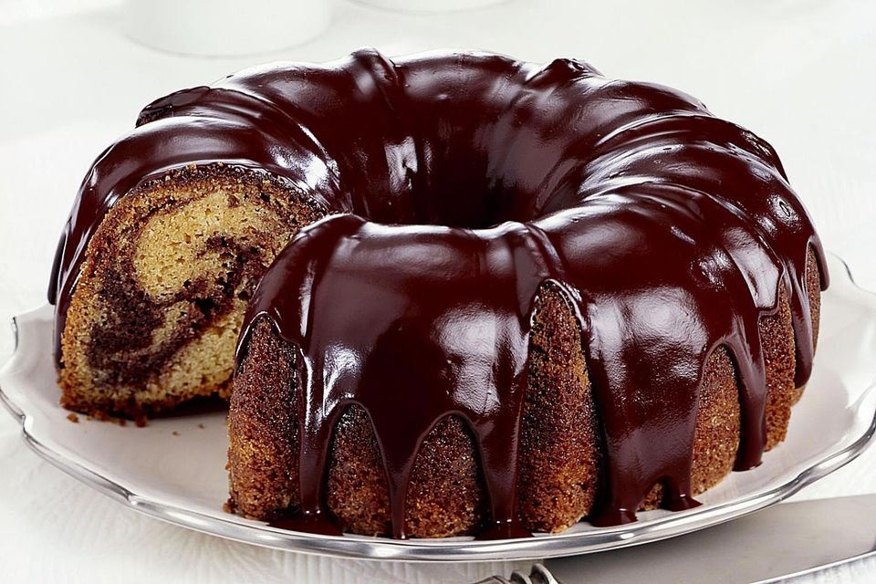 Chocolate swirl bundt cake with chocolate ganache frosting