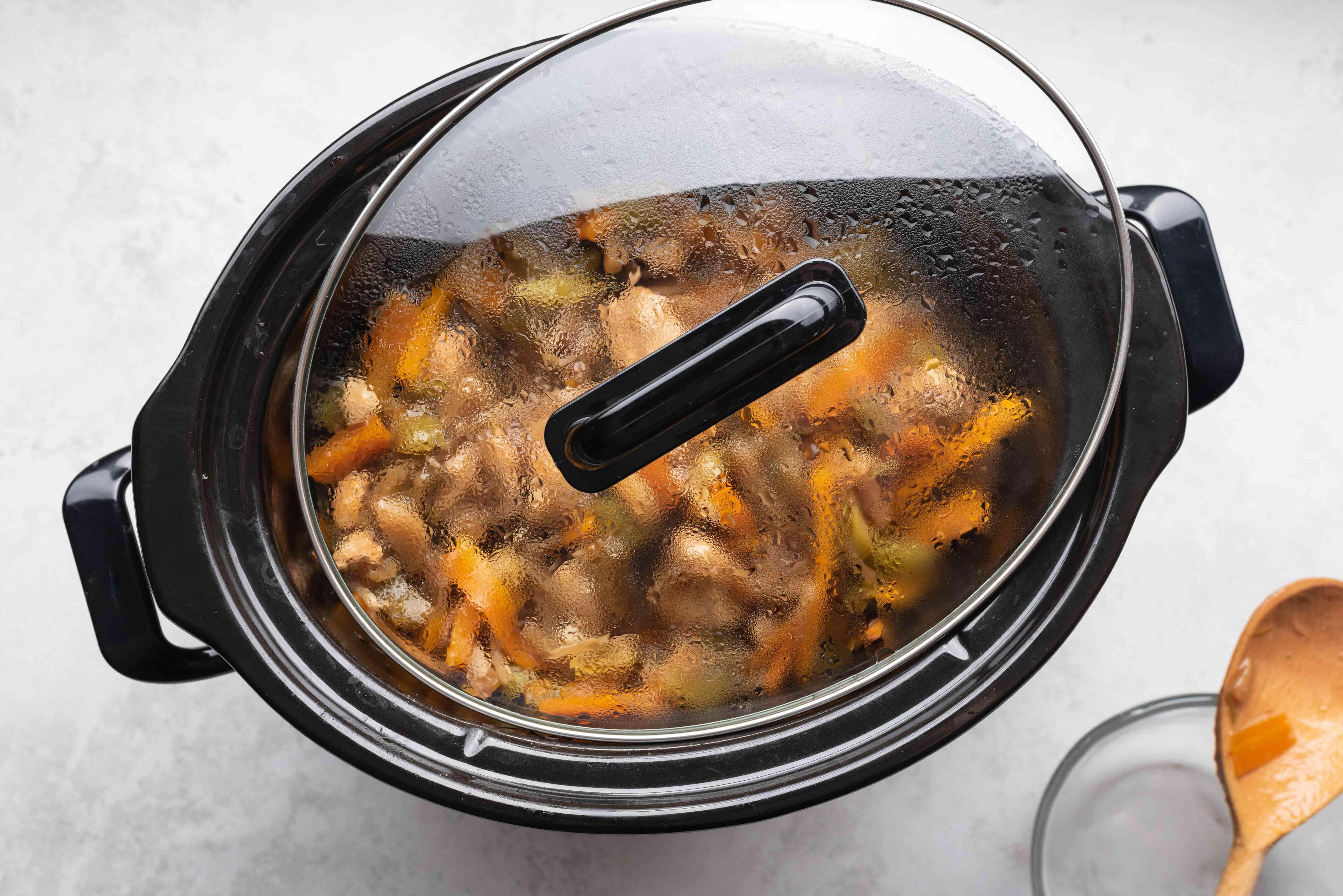 Crockpot Chicken Chow Mein cooking in a crockpot